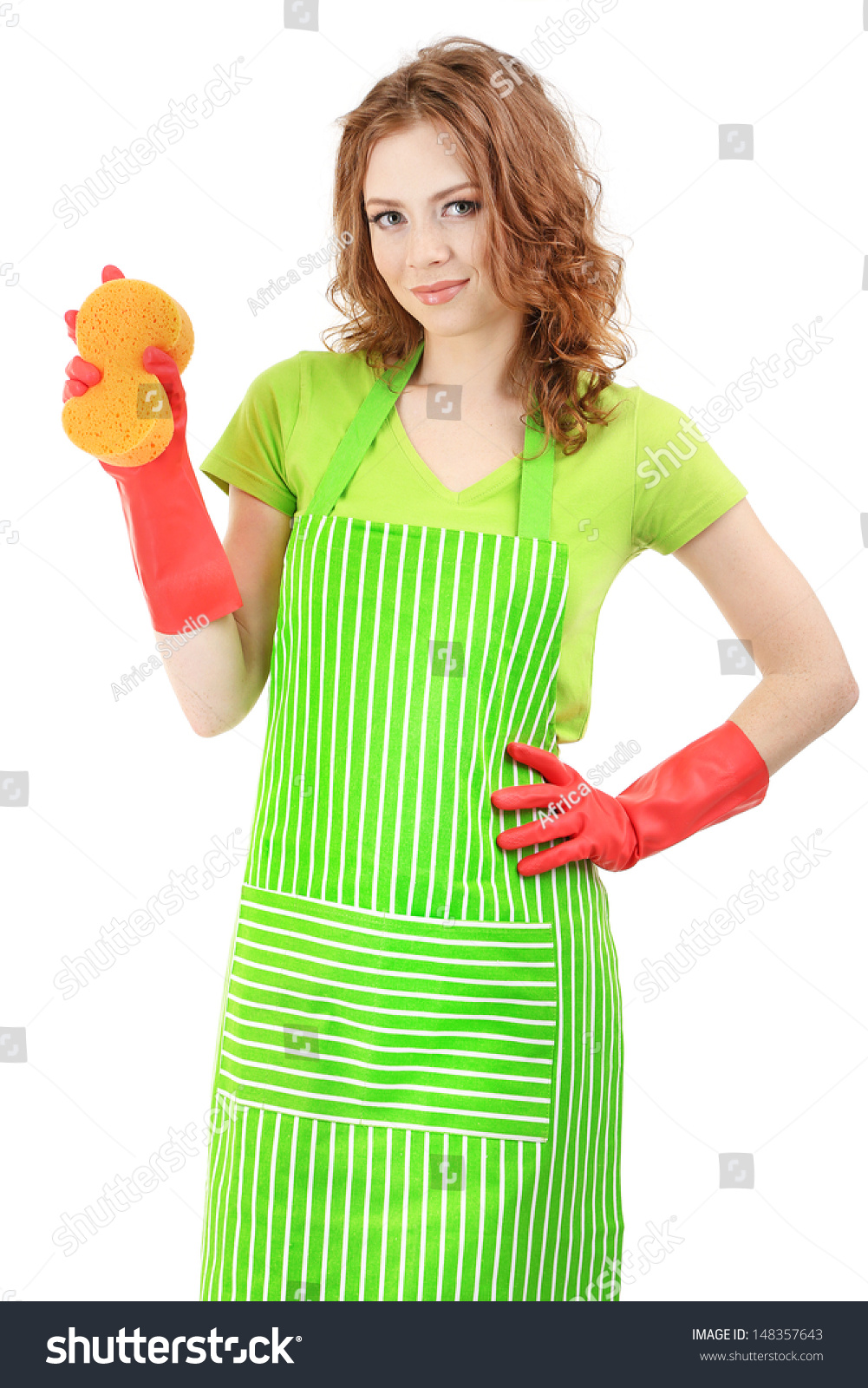White apron green thumb - Young Woman Wearing Green Apron And Rubber Gloves With Sponge Isolated On White