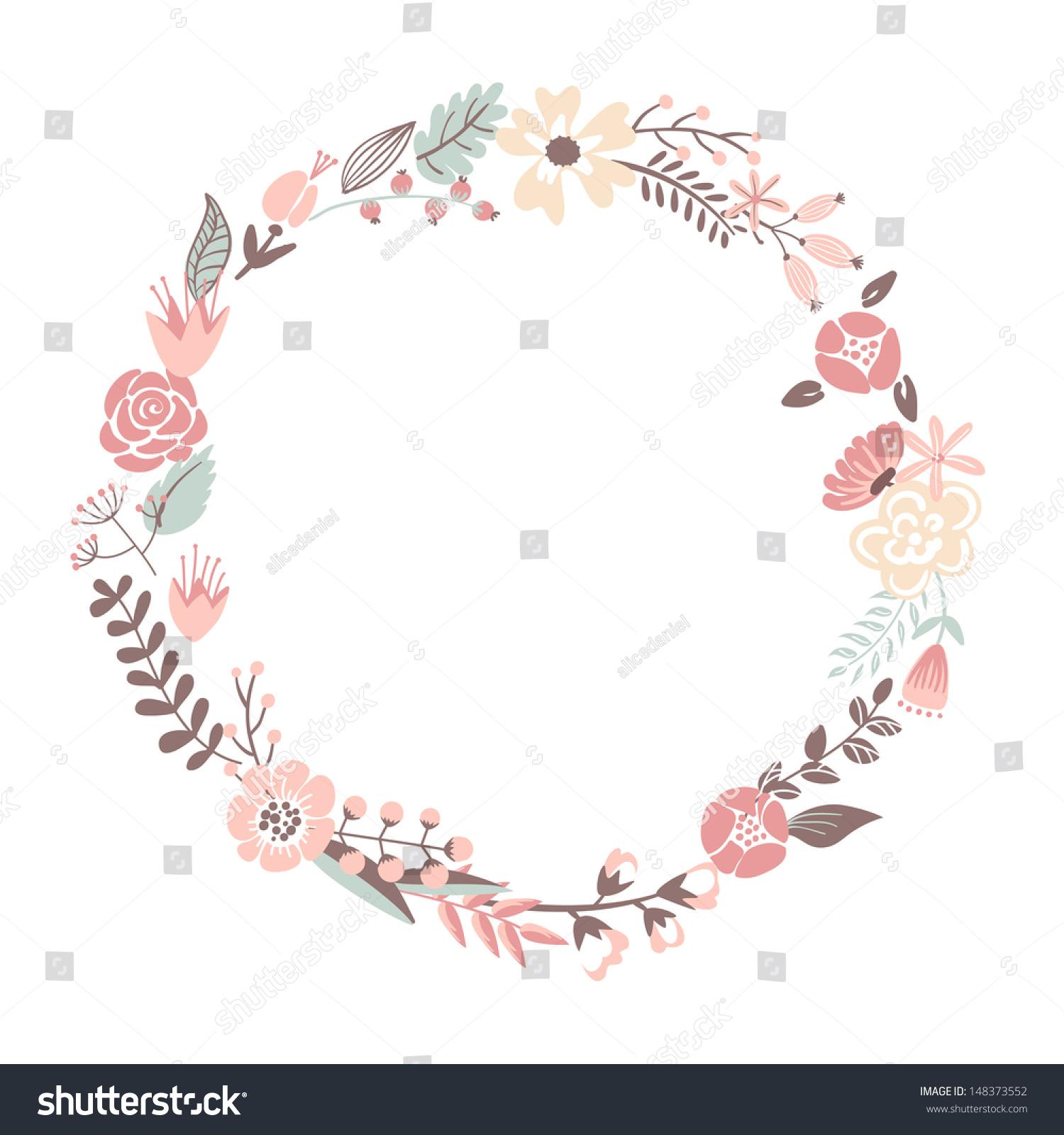 Rustic flower border clip art round flower frame stock vectors