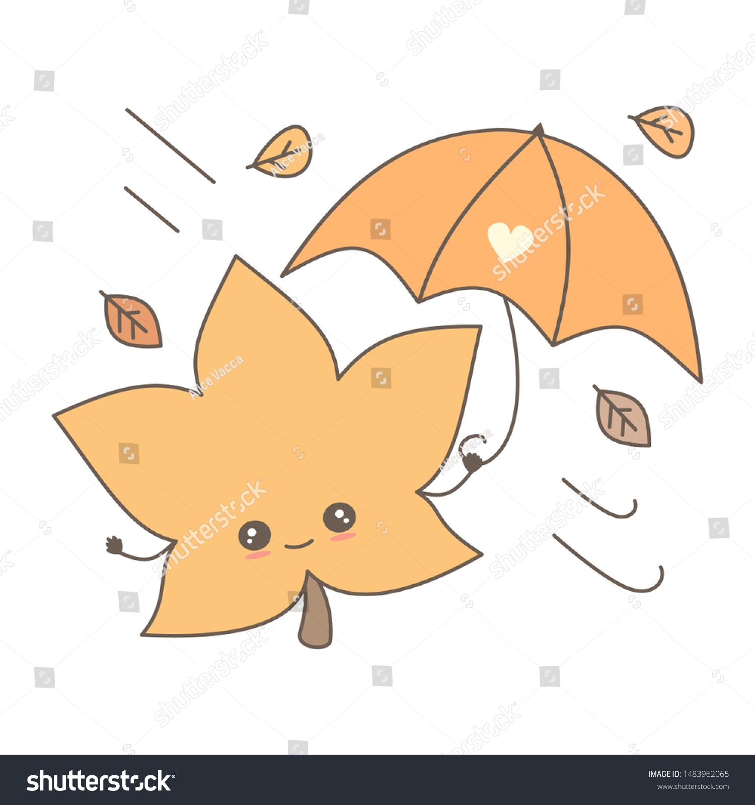 Cute Cartoon Leaf Umbrella Fall Autumn Stock Vector Royalty Free 1483962065