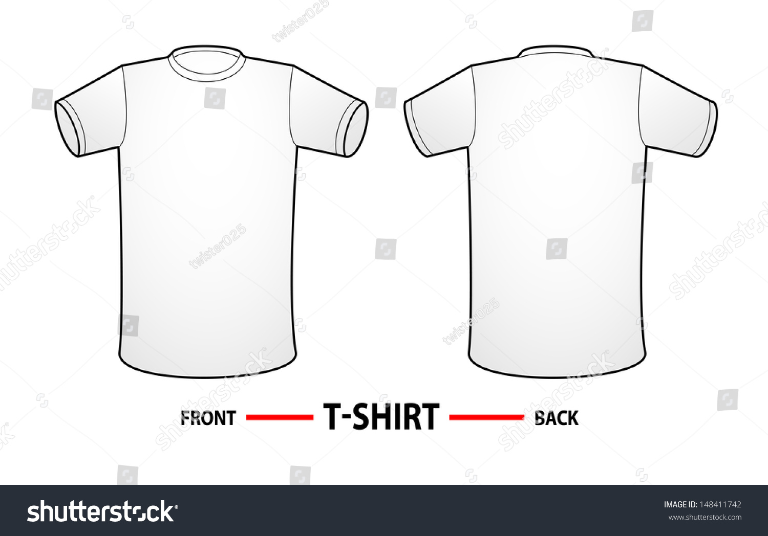 vector t shirt templates white shirt with front side and backside 148411742 shutterstock. Black Bedroom Furniture Sets. Home Design Ideas