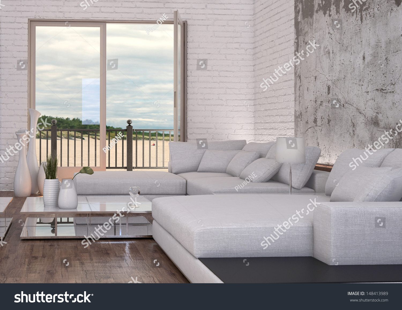 Modern Loft Living Room White Couch Stock Illustration 148413989 ...