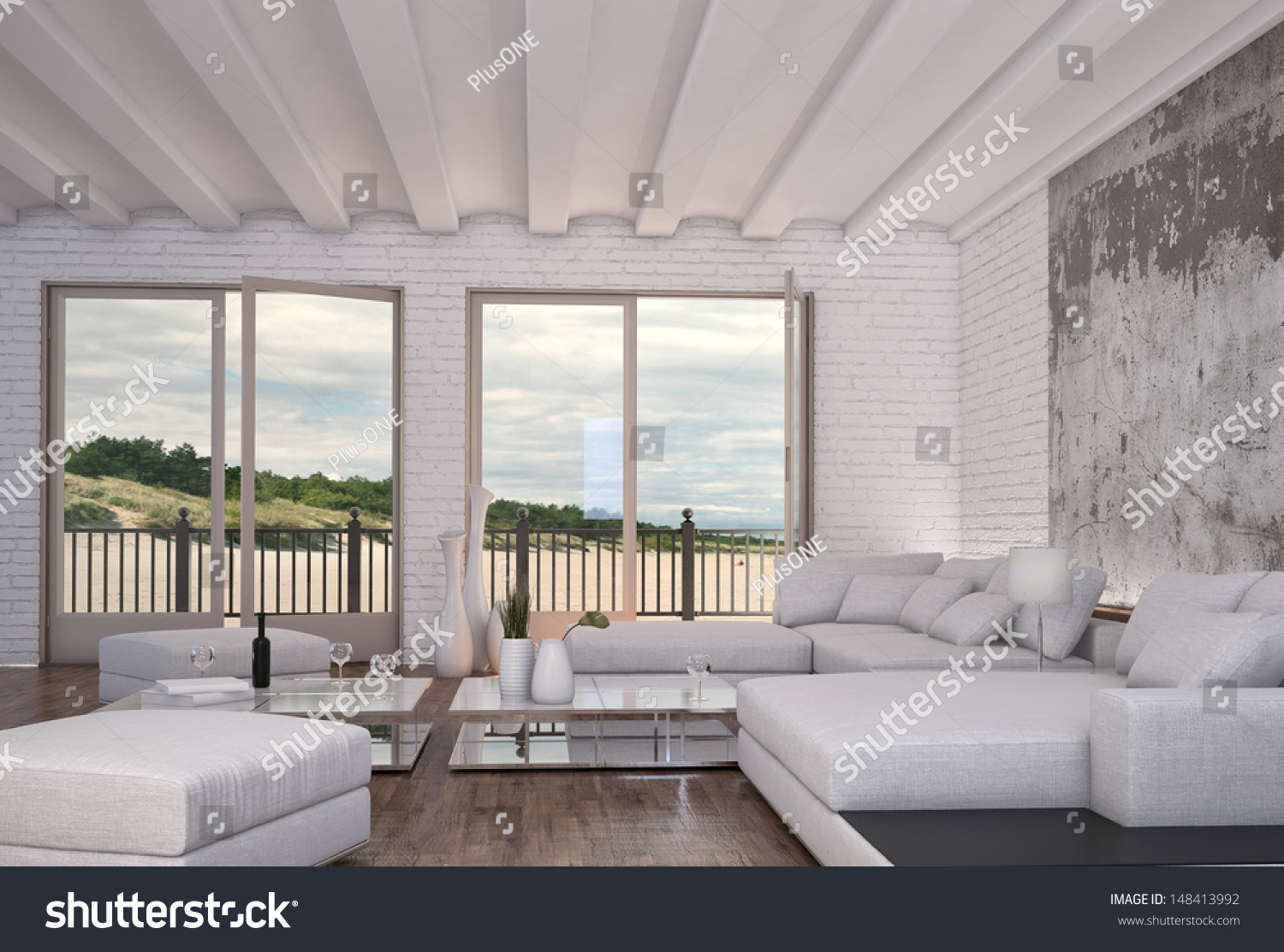 Modern loft living room - Modern Loft Living Room With White Couch And Seascape View
