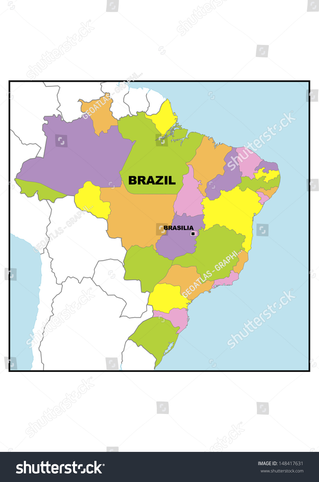 Administrative Map Brazil Stock Illustration 148417631 Shutterstock