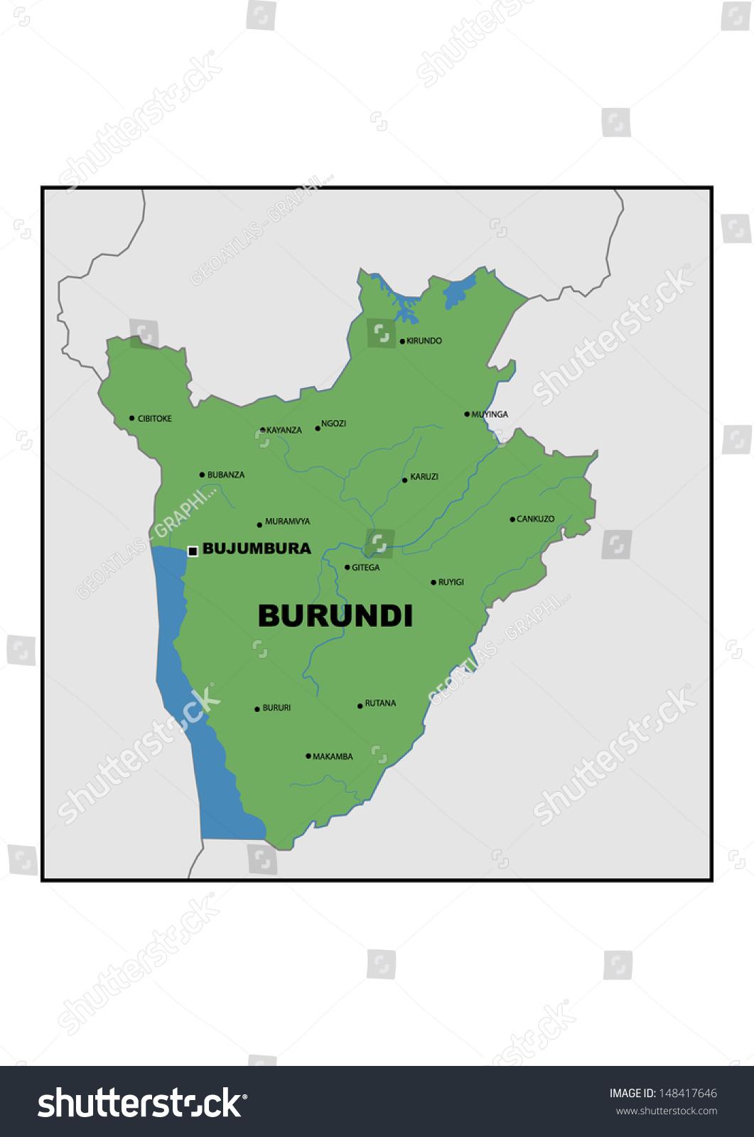 Physical Map Burundi Stock Illustration 148417646 Shutterstock