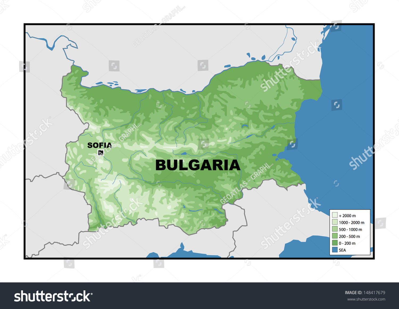 Physical Map Bulgaria Stock Illustration 148417679 Shutterstock