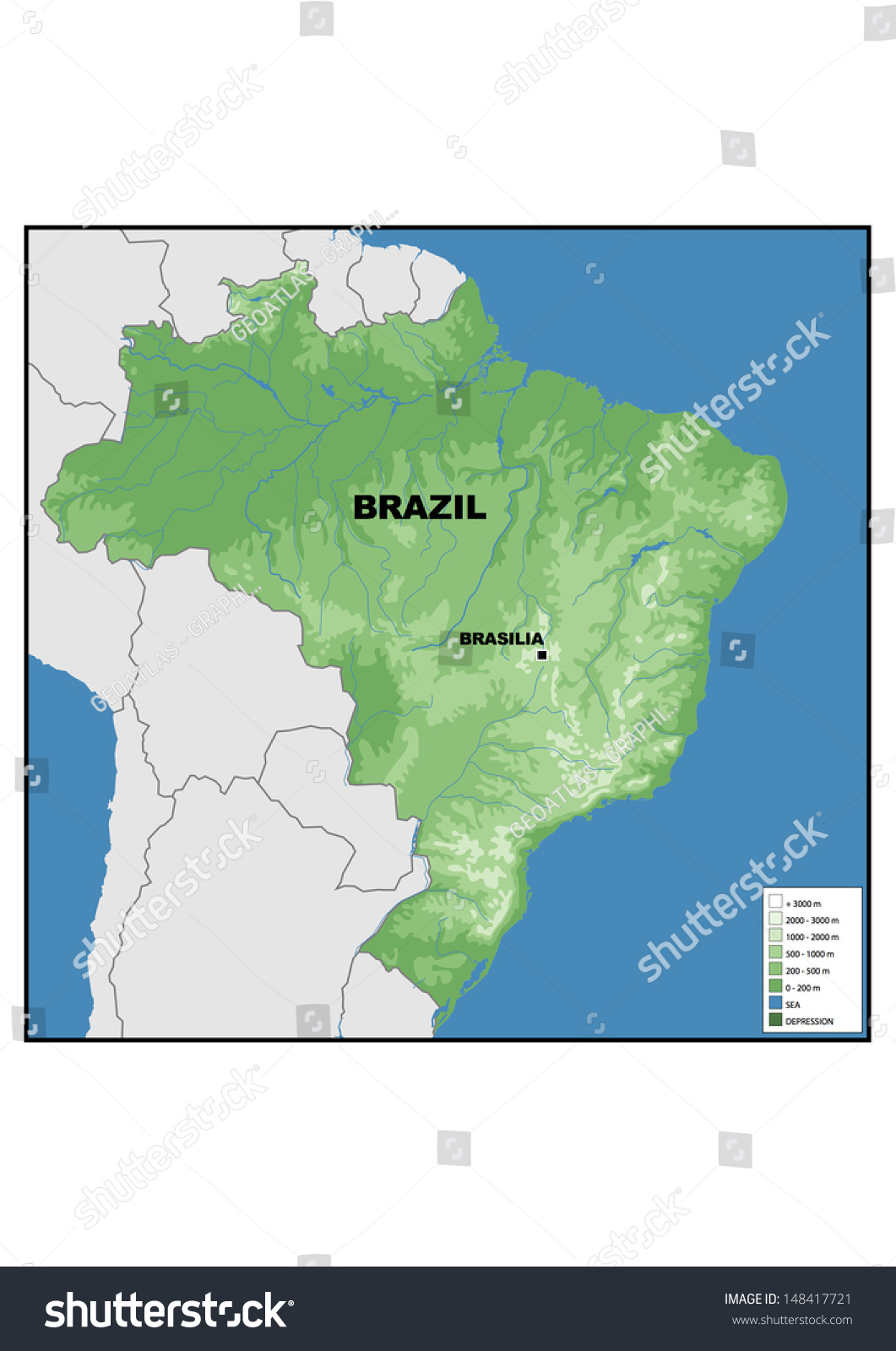 Physical Map Brazil Stock Illustration 148417721 Shutterstock