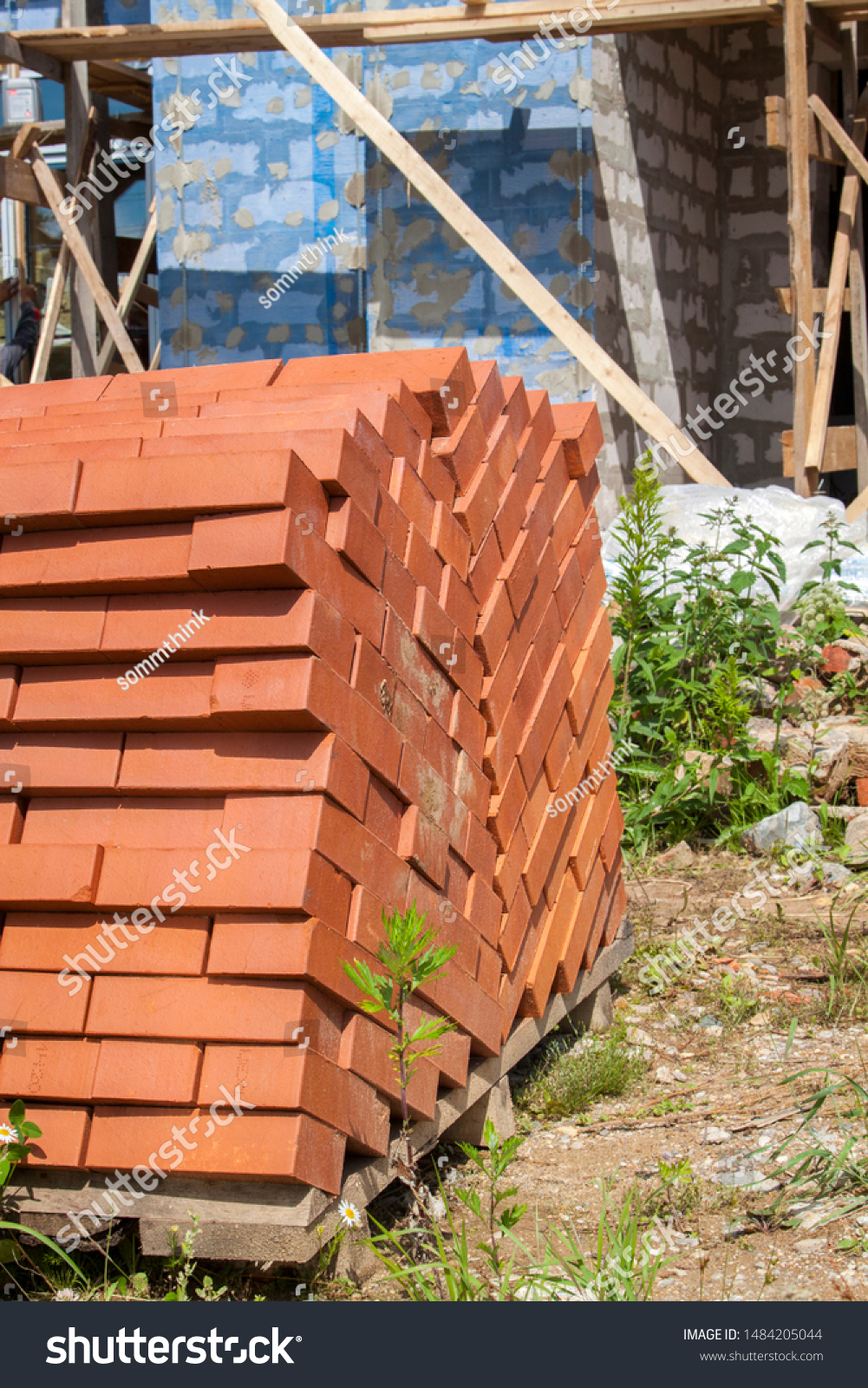 Silicate Bricks Stacked Pile On Pallet Stock Photo Edit Now 1484205044