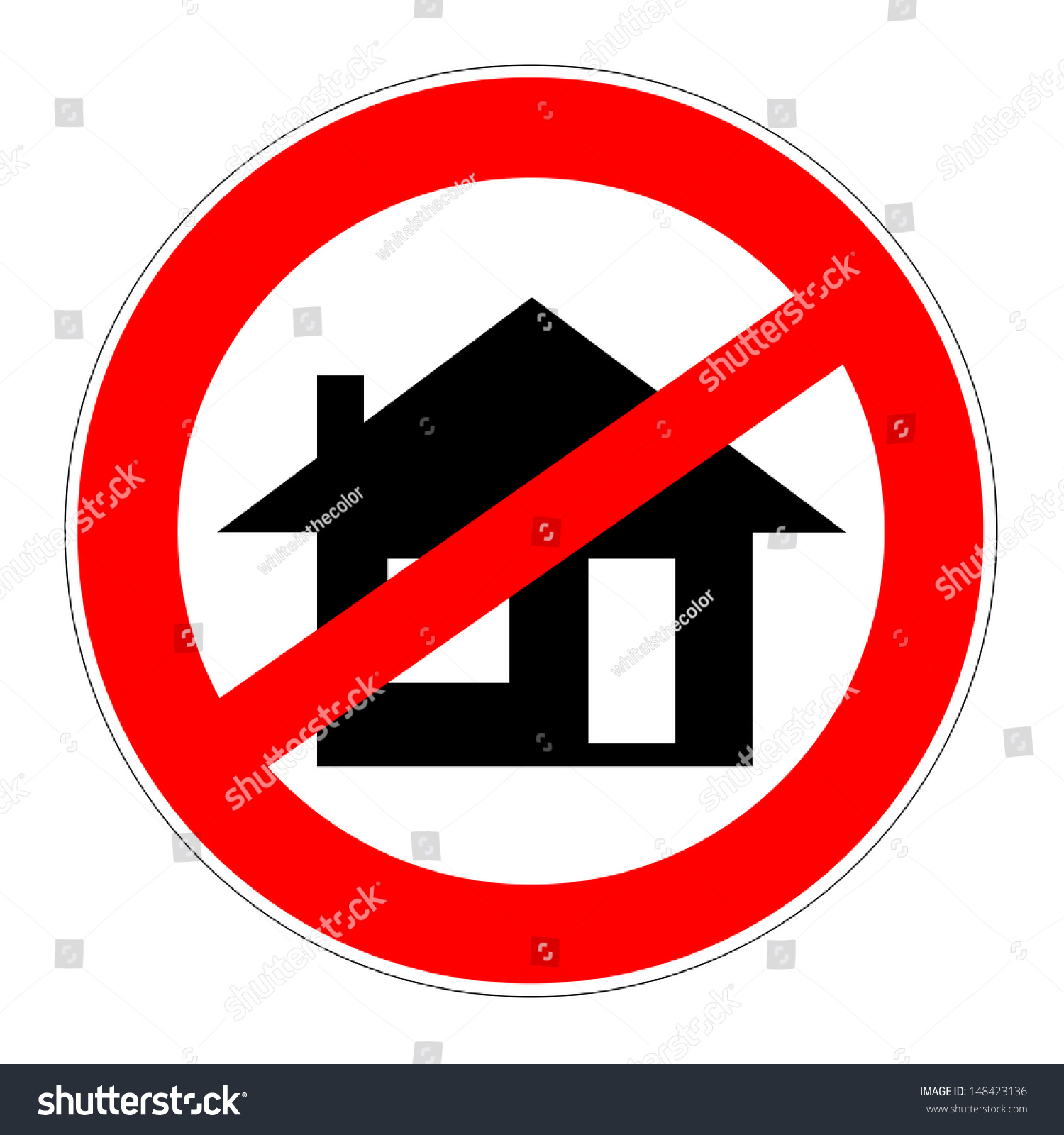 Prohibition Traffic Sign Little House Meaning Stock Illustration