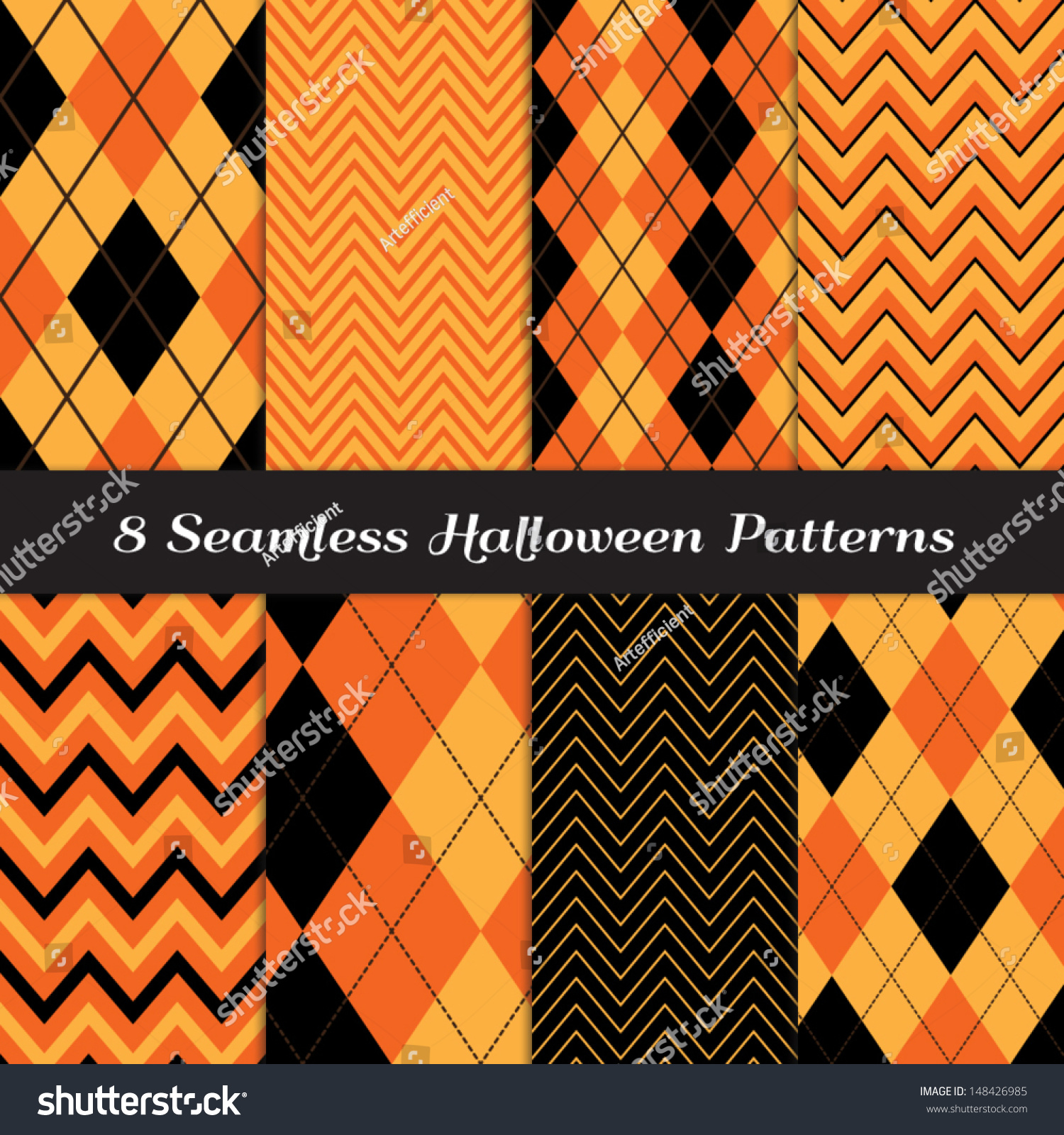 Halloween orange black and brown argyle chevron