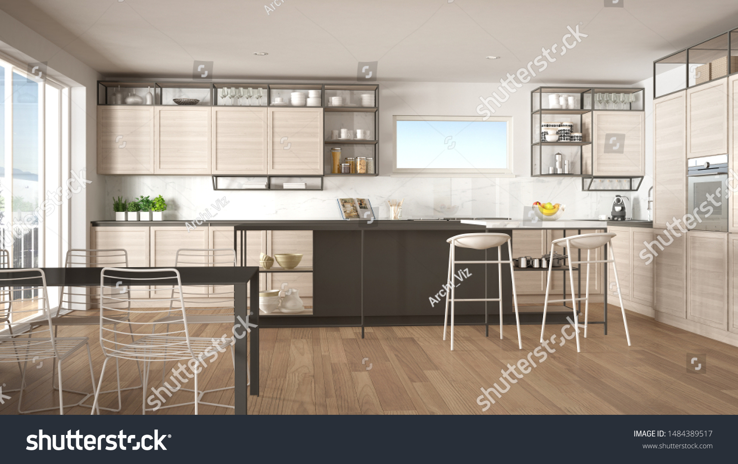 Penthouse Minimalist Kitchen Interior Design Lounge Stock Illustration 1484389517