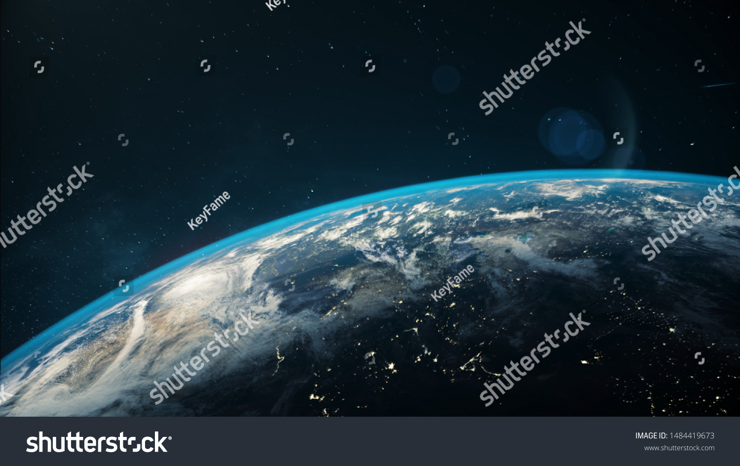 Beautiful space view of the Earth with cloud formation.  #1484419673