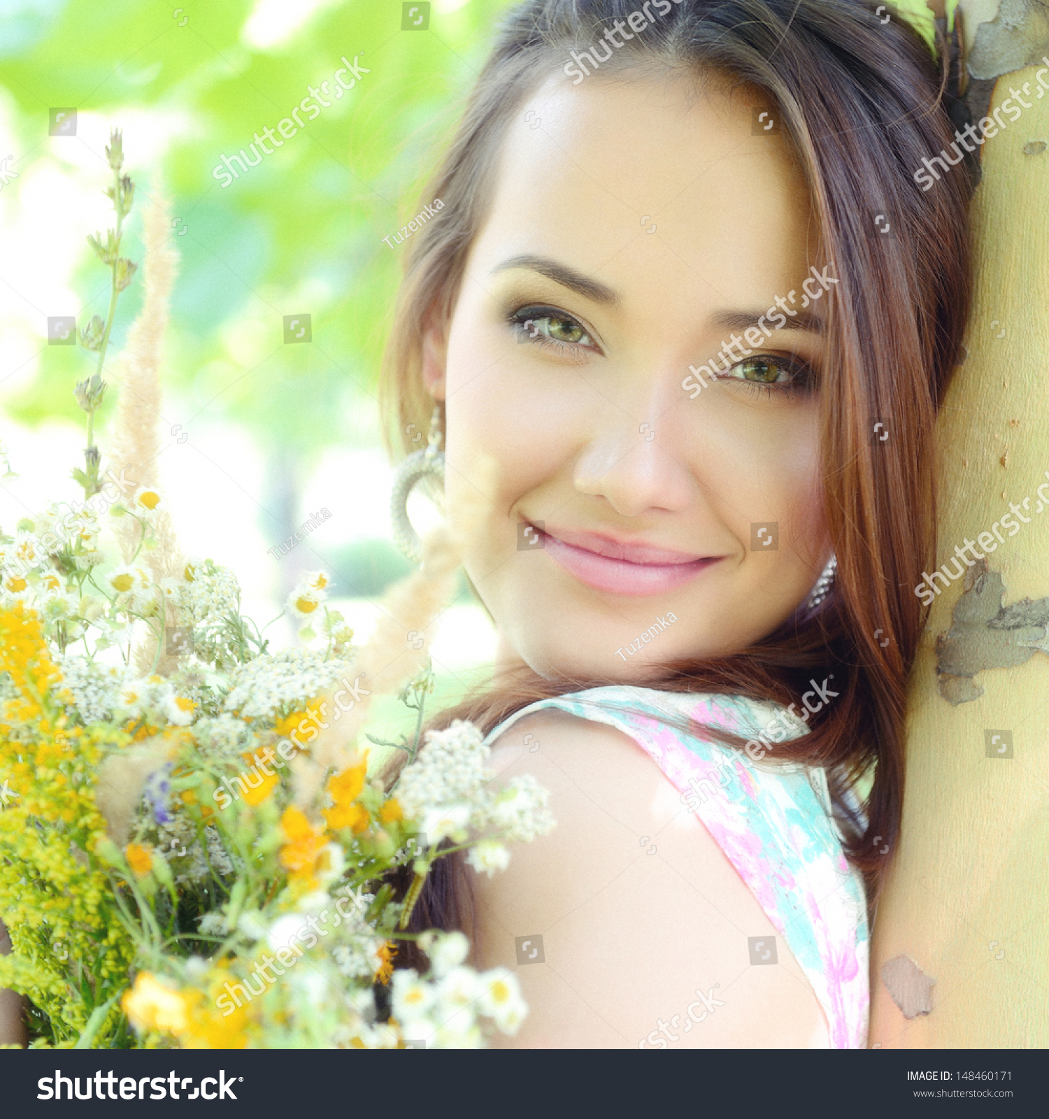 Young Beautiful Lady Field Flowers Outdoor Stock Photo ... - photo#19