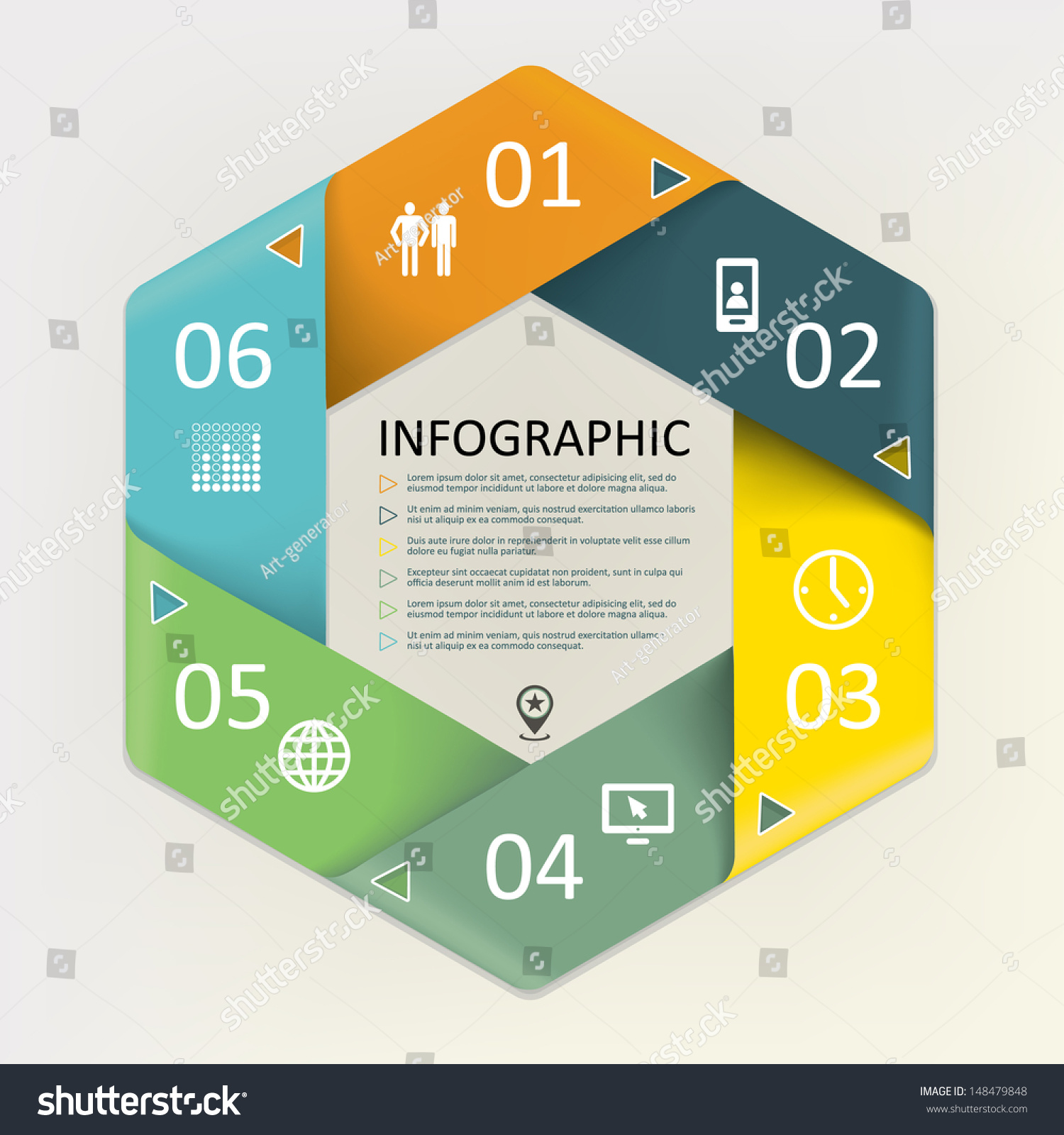 Infographic The Key Economic Policies Put Forward By: Infographic Circular Cyclic Six Steps Process Stock Vector
