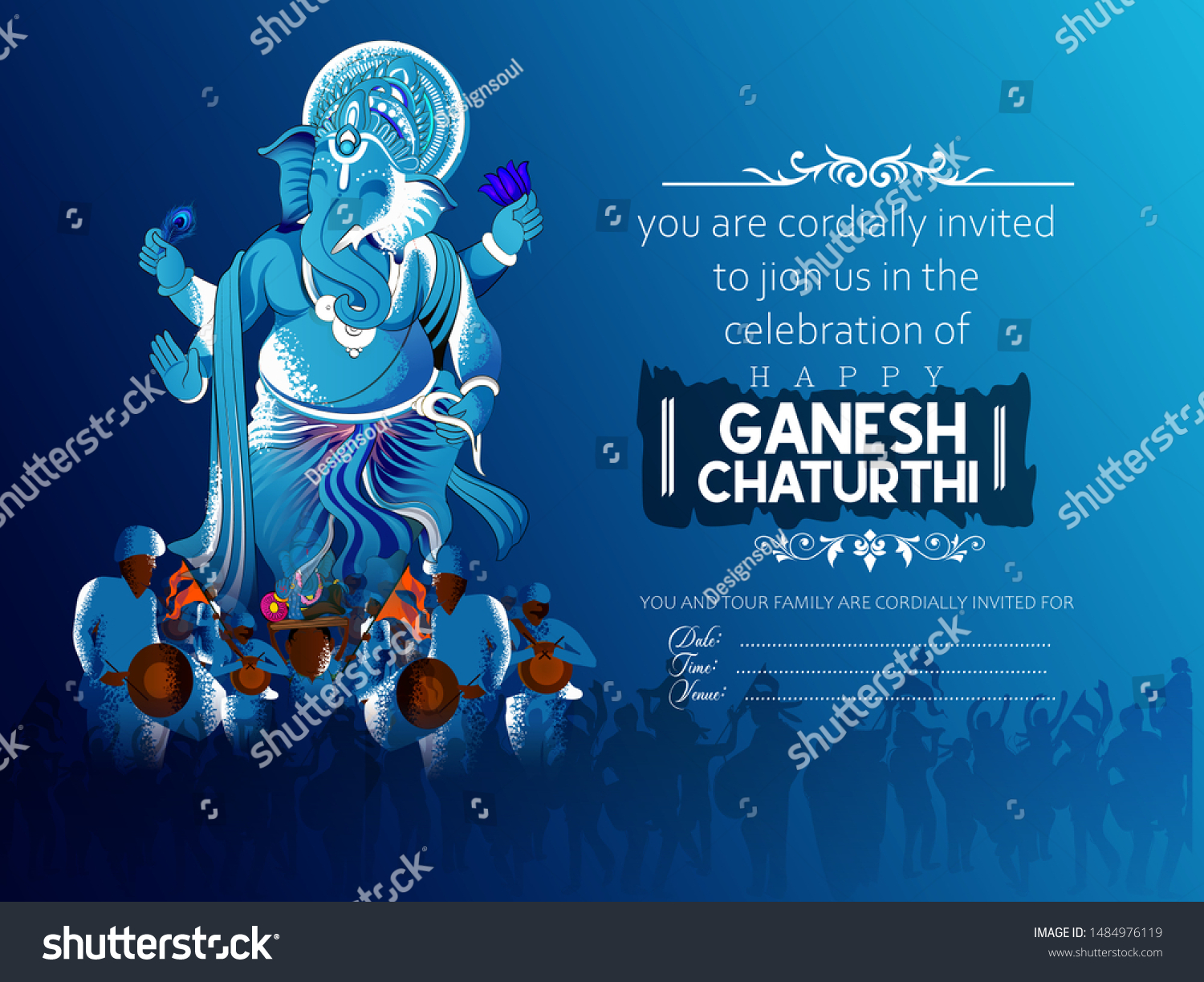 illustration of Lord Ganpati on Ganesh Chaturthi, card poster invitation card