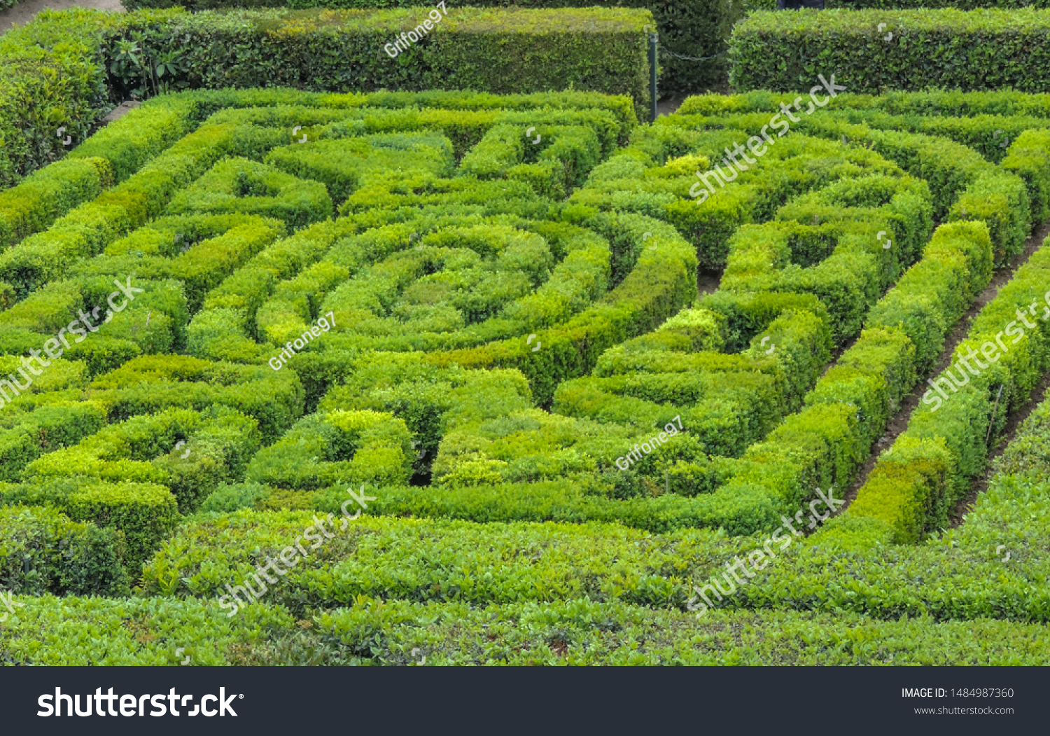 VIGNANELLO, LAZIO, ITALY - April 22 2019: Geometric garden of Castello Ruspoli; this is a great example of Italian Renaissance garden.