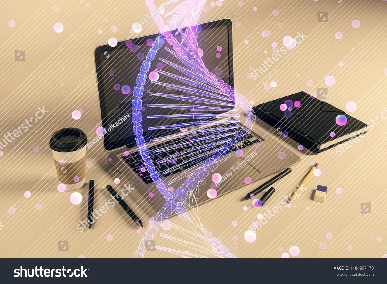 Dna Hologram Desktop Office Background Double Stock Photo Edit