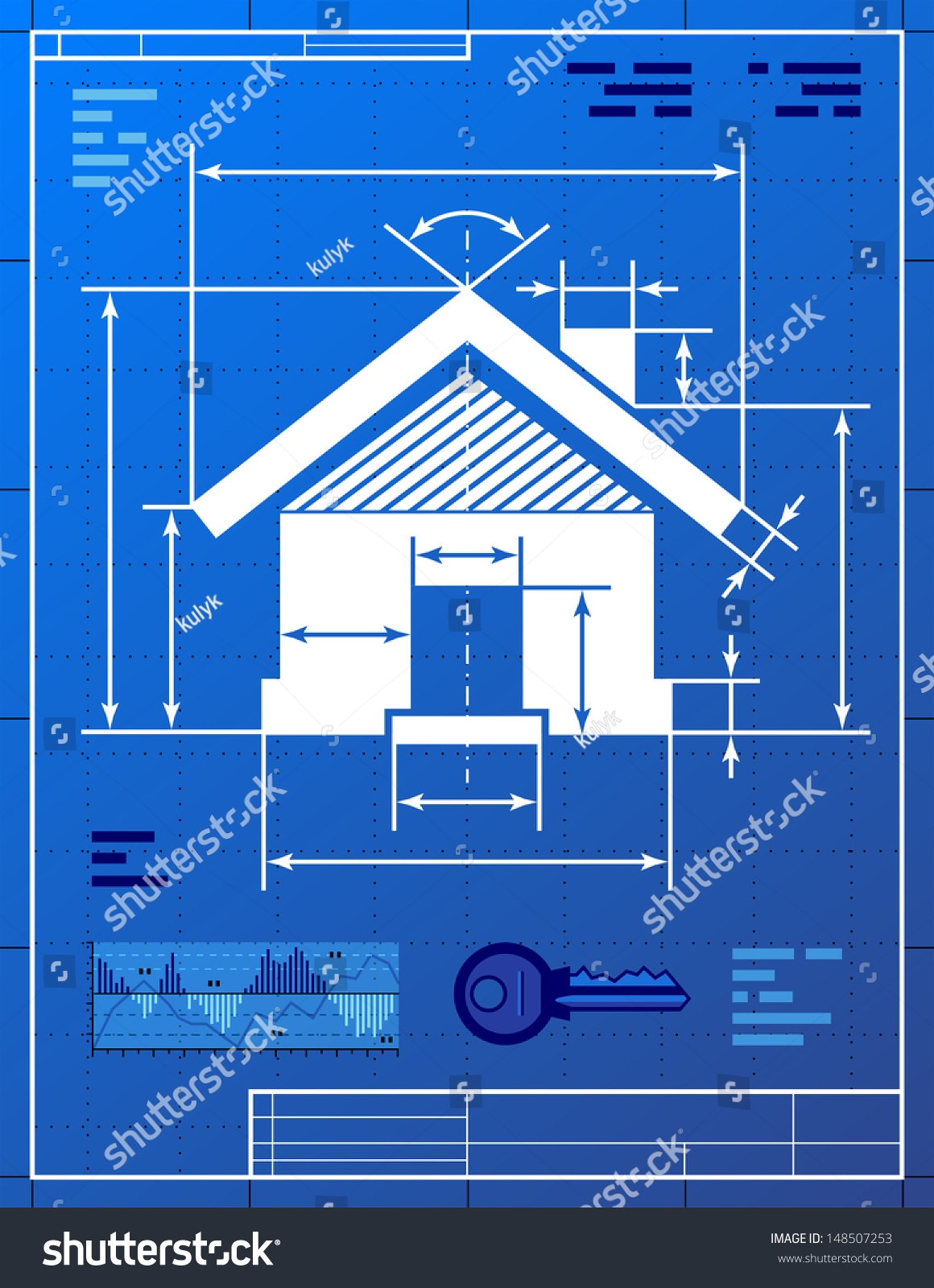 home symbol like blueprint drawing stylized stock vector