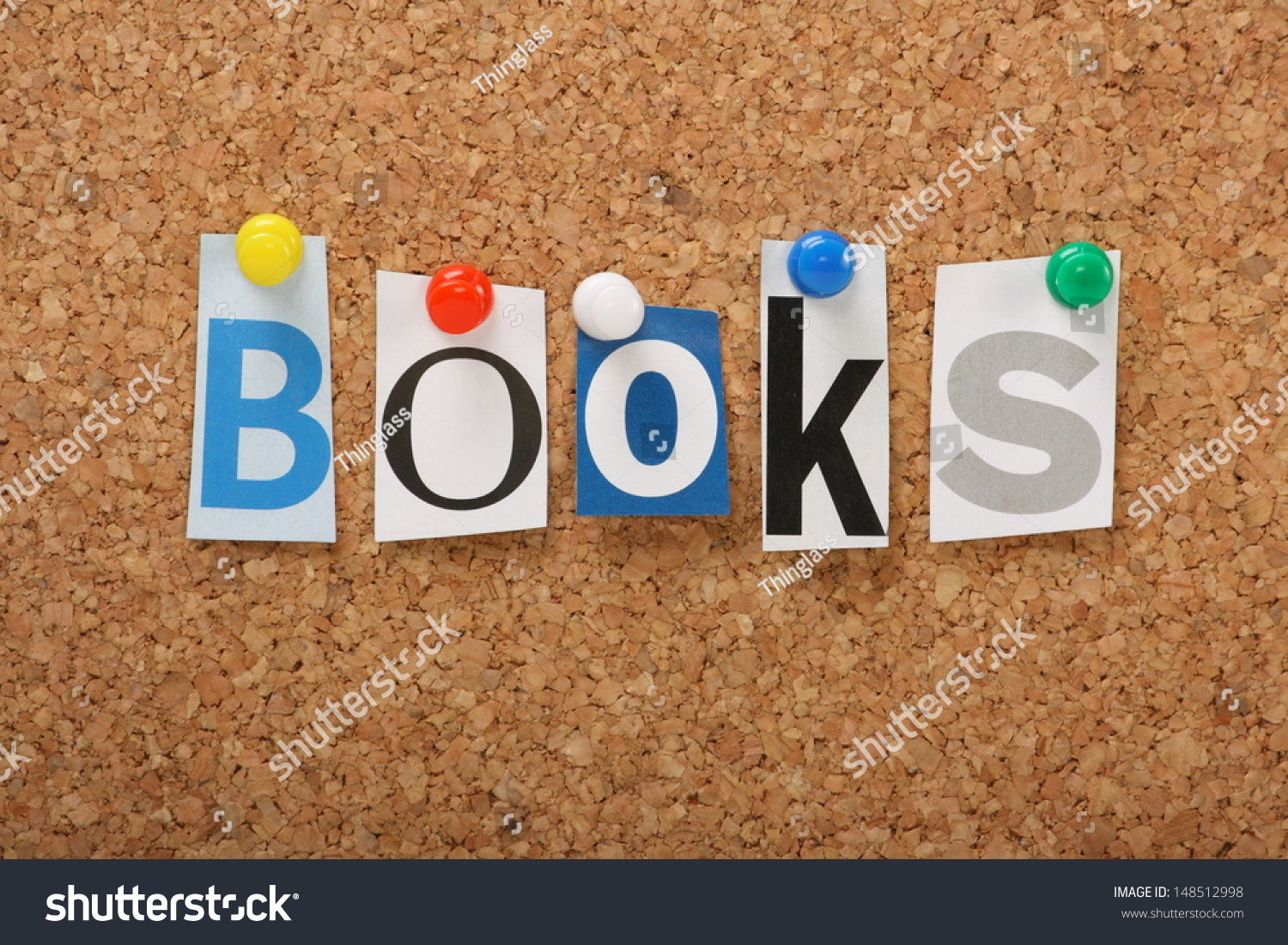 Word books cut out magazine letters stock photo 148512998 the word books in cut out magazine letters pinned to a cork notice board books spiritdancerdesigns Images