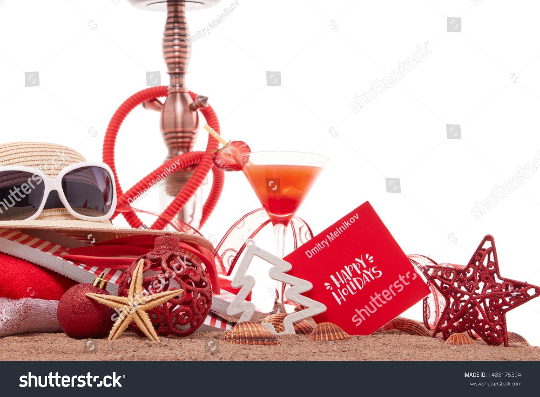 Beach Accessories Seashells Sand Glass Cocktail Stock Photo Edit Now 1485175394