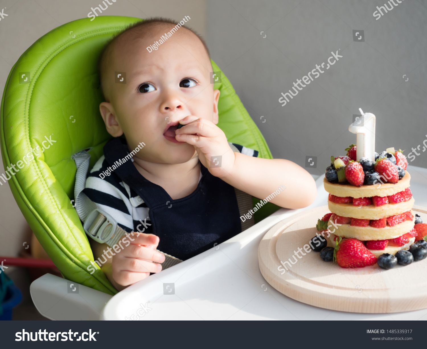Strange First Birthday Cake Mixed Race Asian Stock Photo Edit Now 1485339317 Birthday Cards Printable Inklcafe Filternl