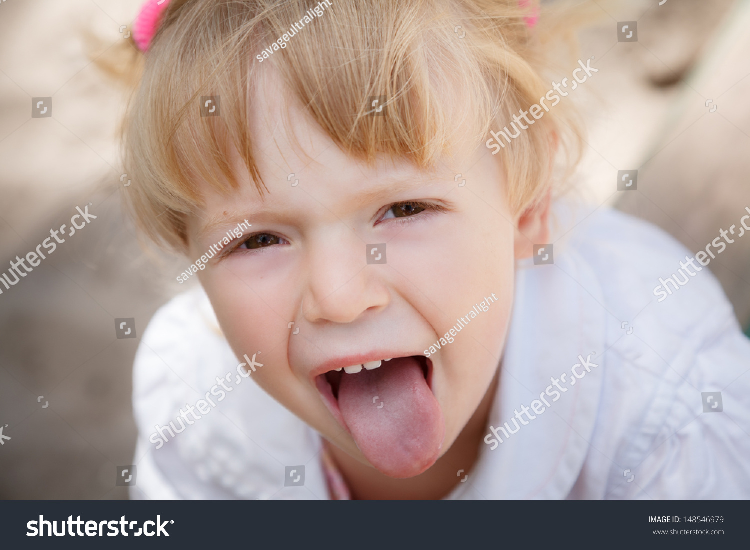 little girl tongue close up