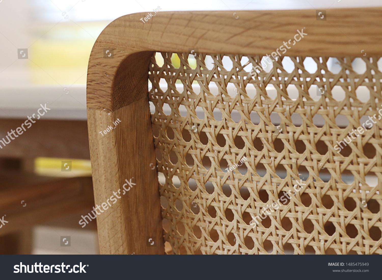 Closeup of wood chair with rattan, Beautiful  oak wood texture surface , rattan pattern. #1485475949