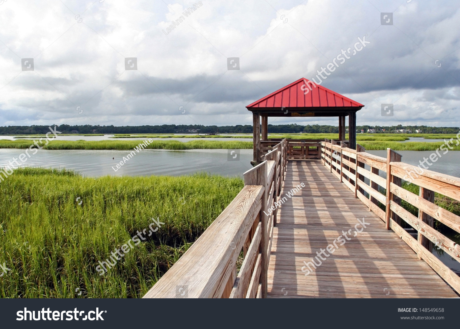 Observation and fishing pier in marshland at hilton head for Hilton head fishing pier