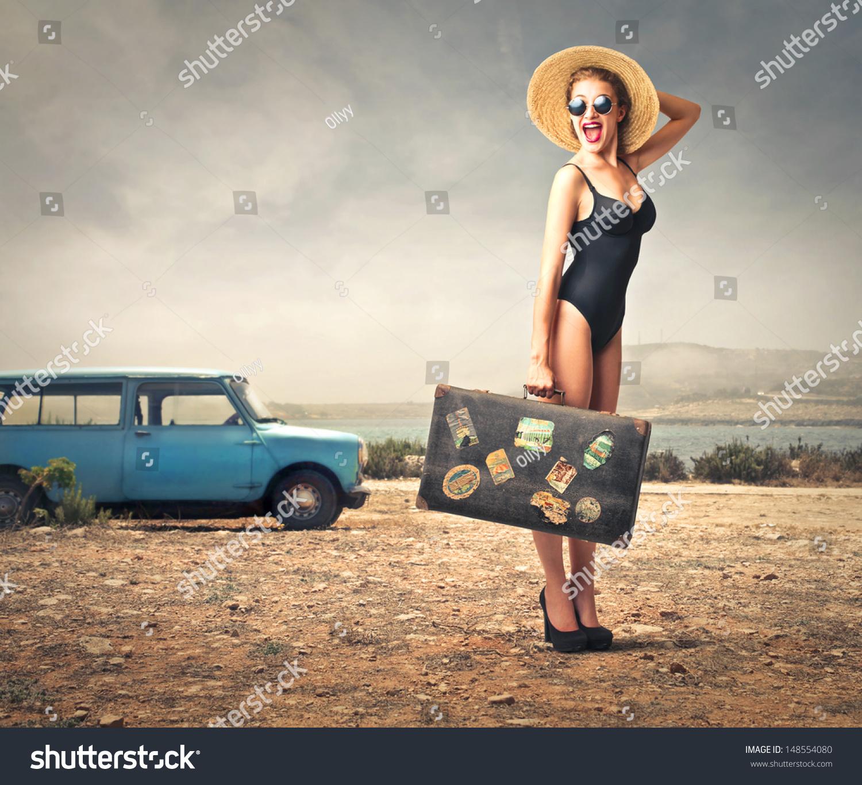Beautiful Woman Bathing Suit Straw Hat Stock Photo
