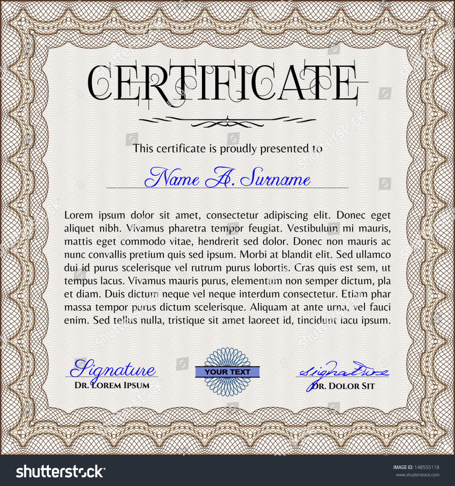 Certificate template with sample text