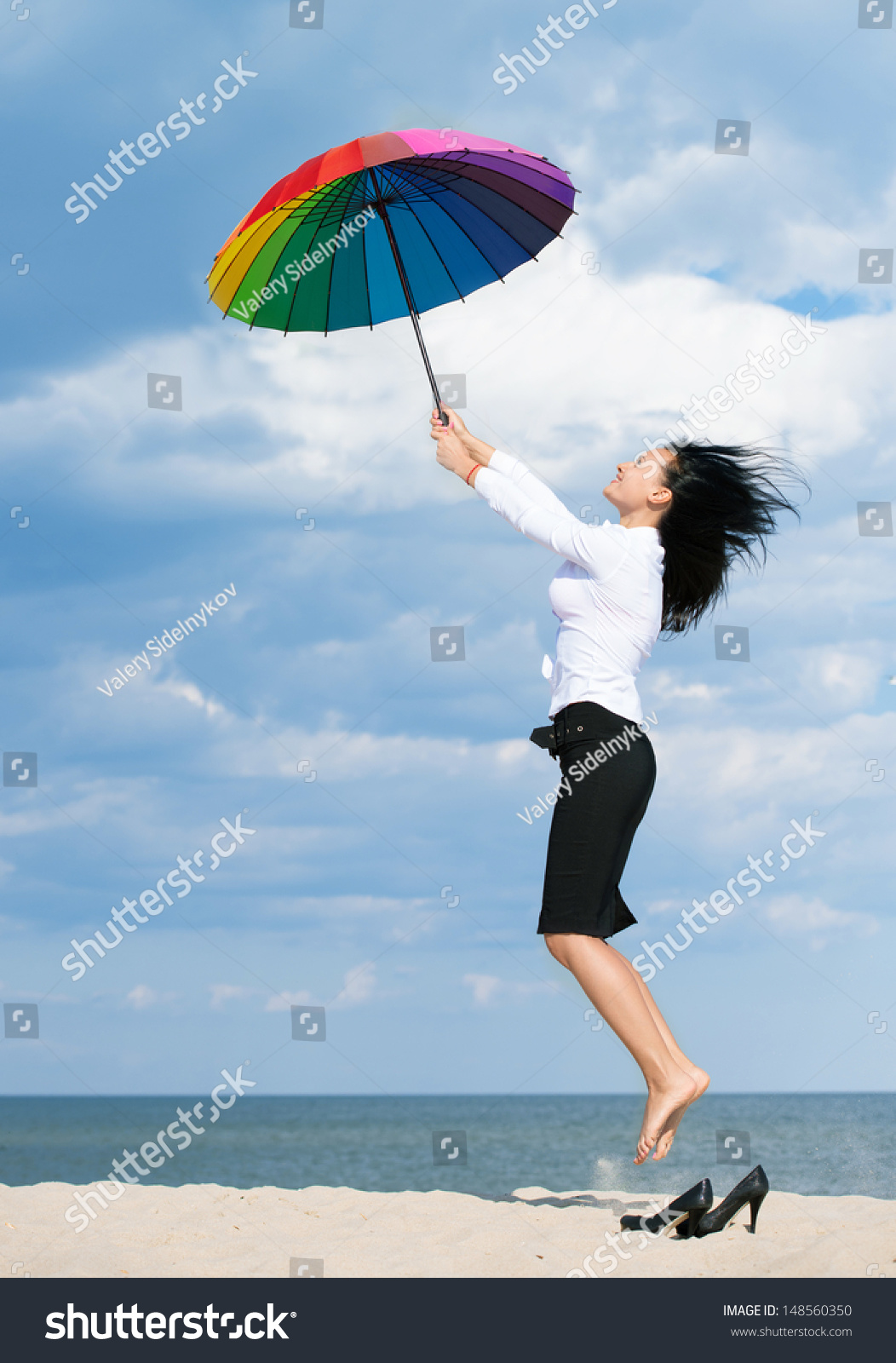 Woman Flying Away Her Business Problems Stock Photo ...