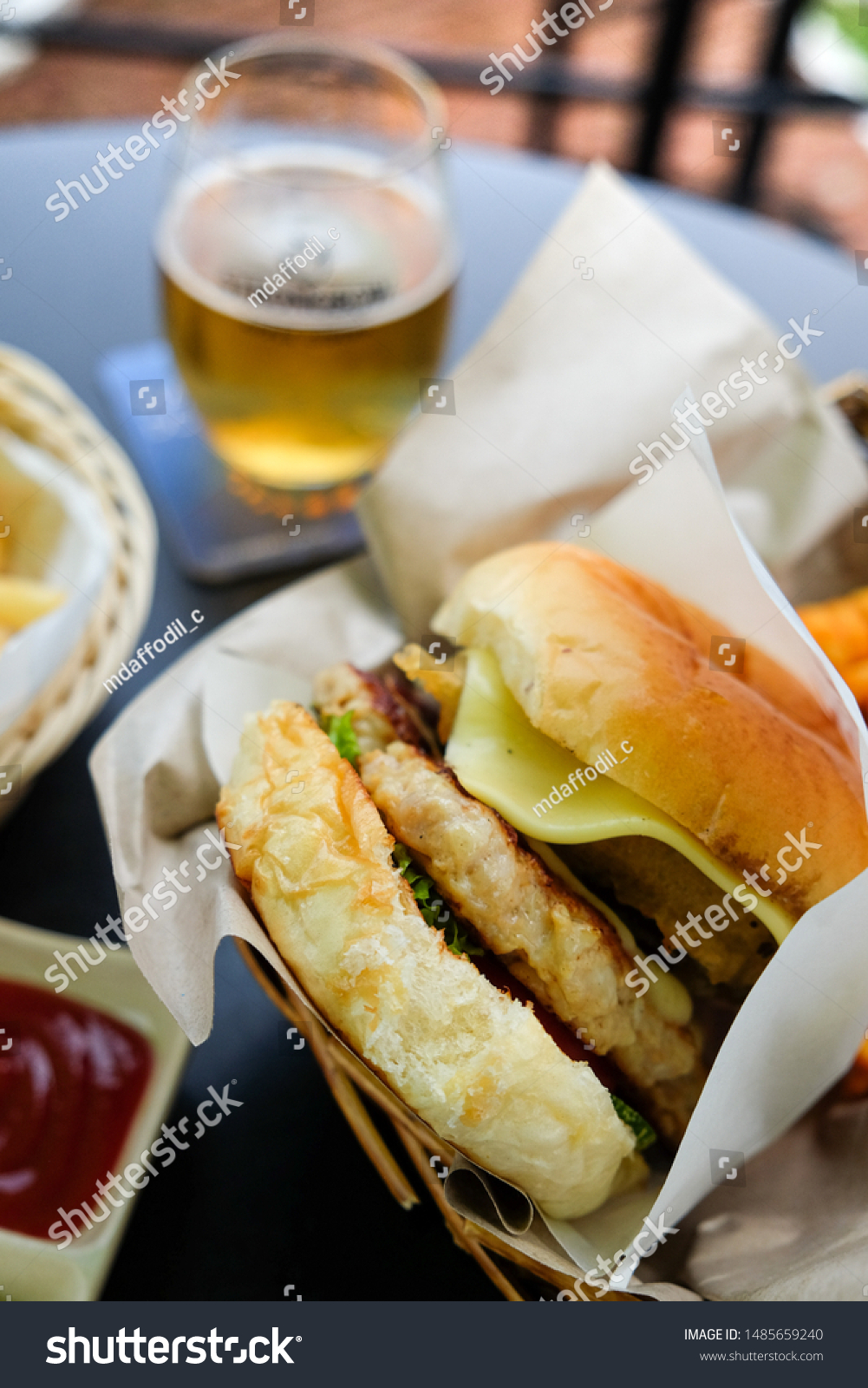 Big pork and cheese hamburger to eat with soft drink. Food and drink #1485659240