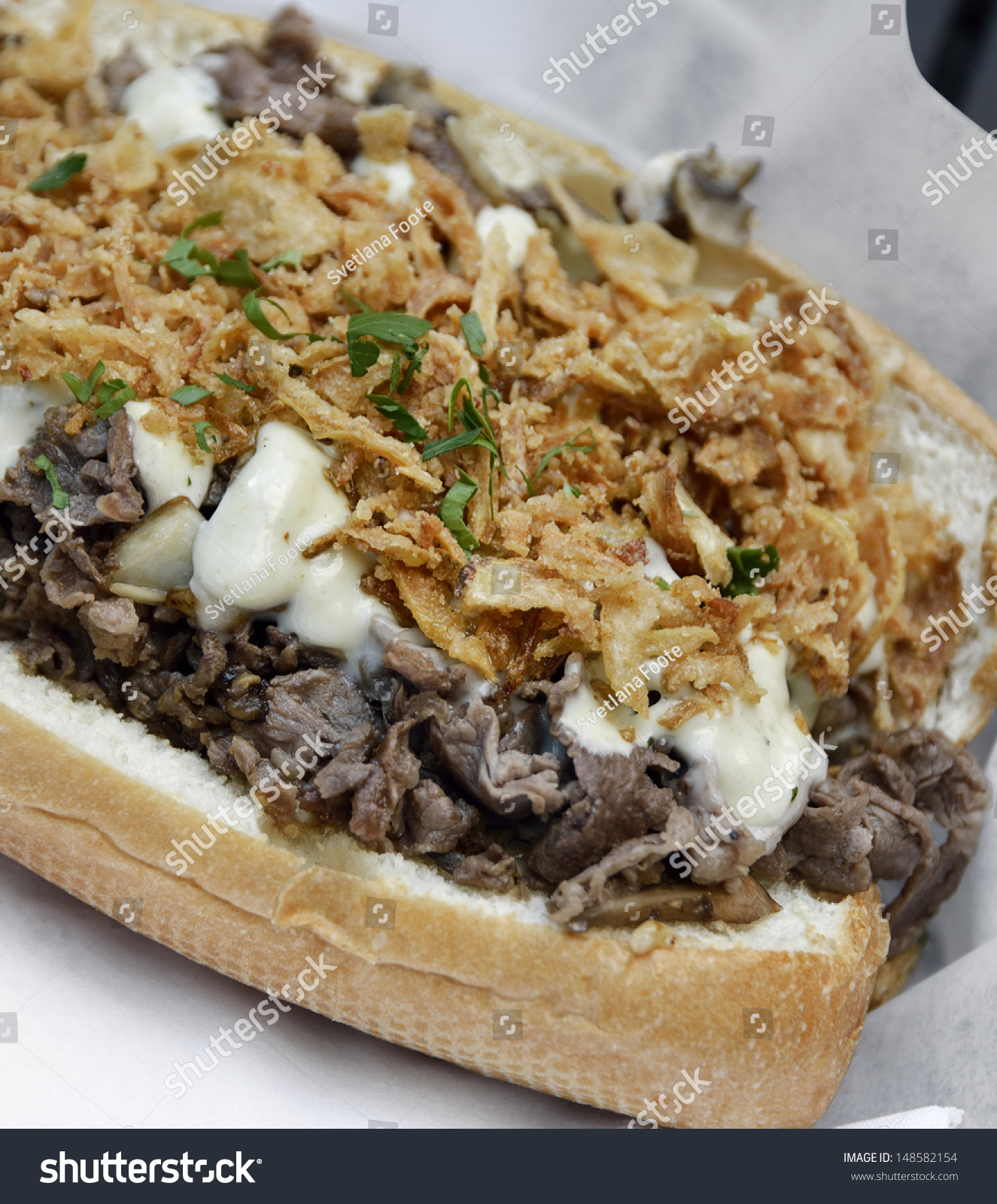 Cheese Steak Sandwich With Beef ,Mushrooms And Onions ...