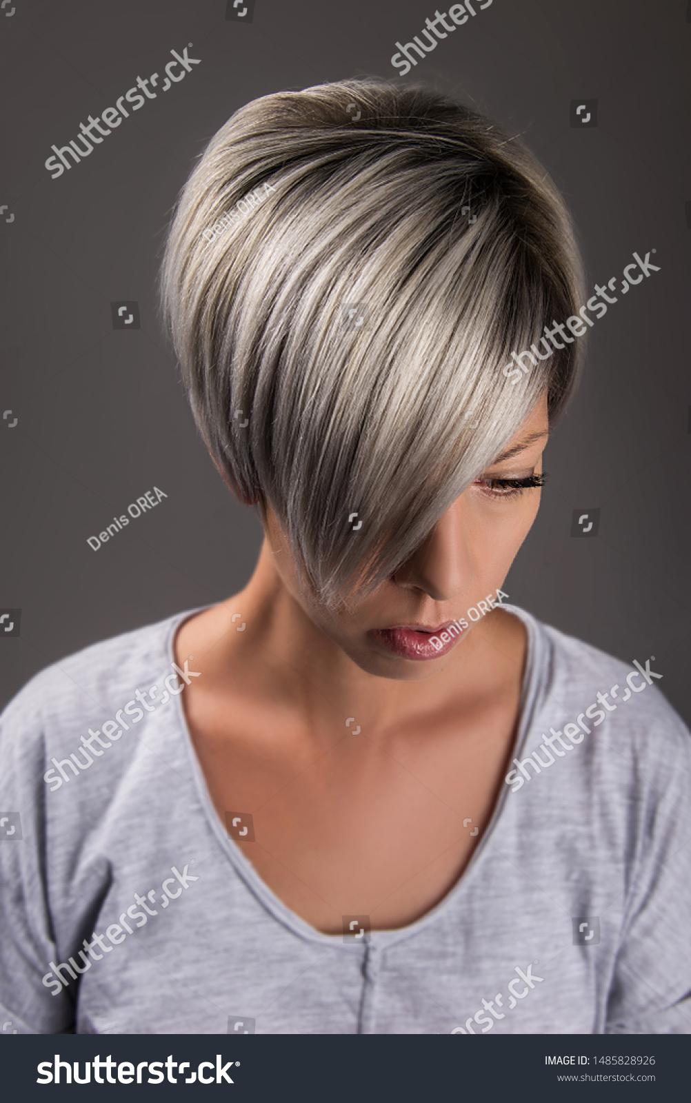 Short Hair Style Hair Cut Grey Stock Photo Edit Now 1485828926