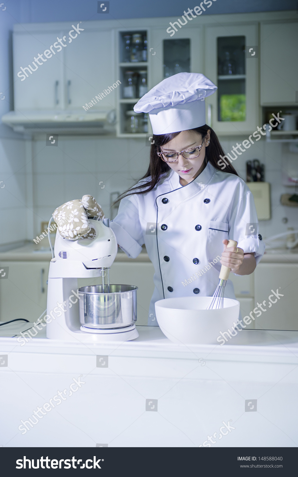 Young Asian Female Amateur Chef Kitchen Stock Photo (Royalty Free ...