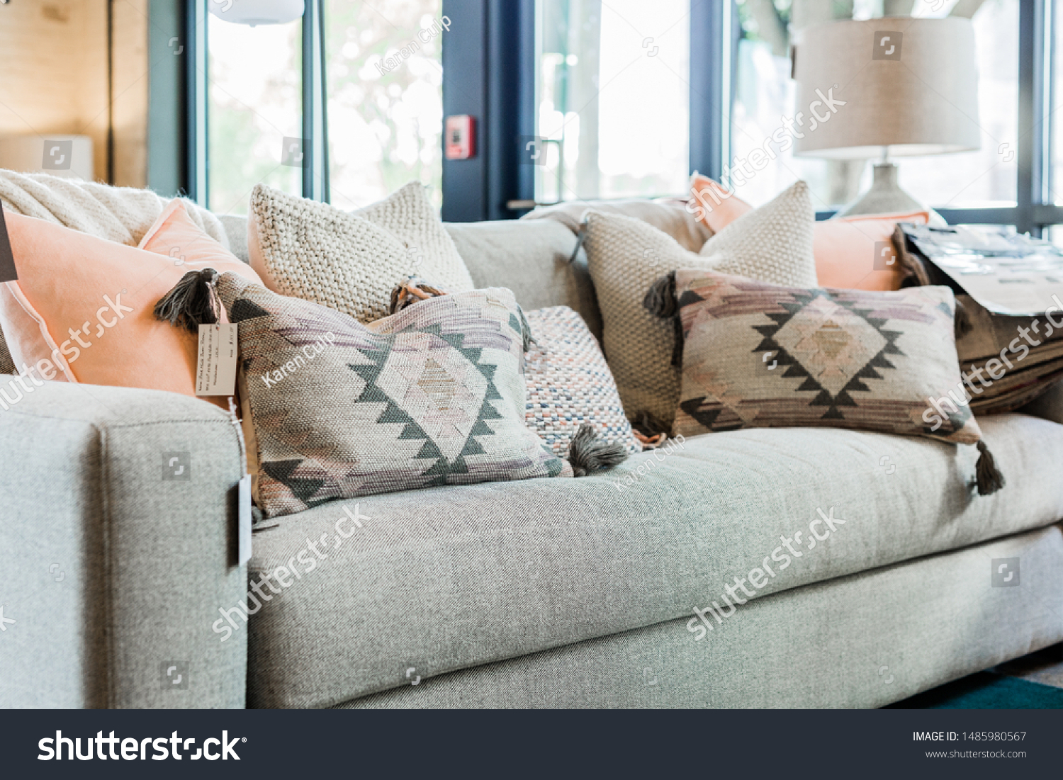 Modern Grey Couch Pink Grey Bohemian Stock Photo Edit Now 1485980567