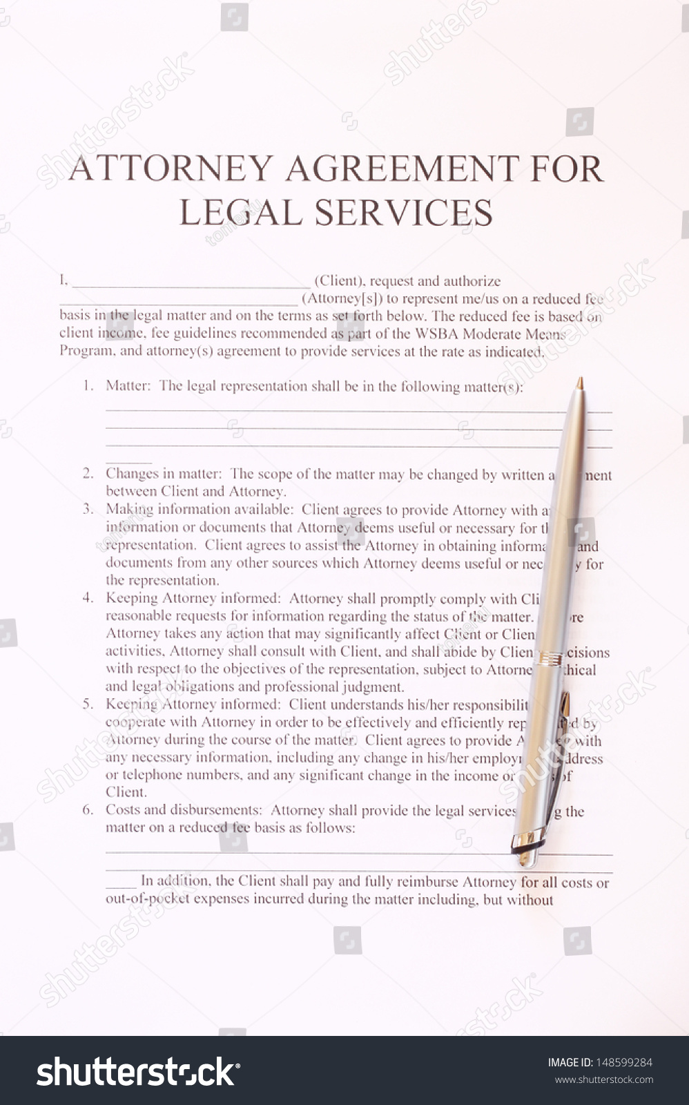 Attorney Agreement Legal Services Form Pen Stock Photo Royalty Free