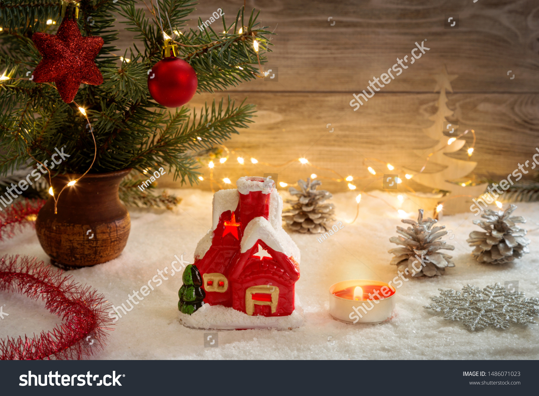Christmas Card Garland Christmas Decorations Copy Stock