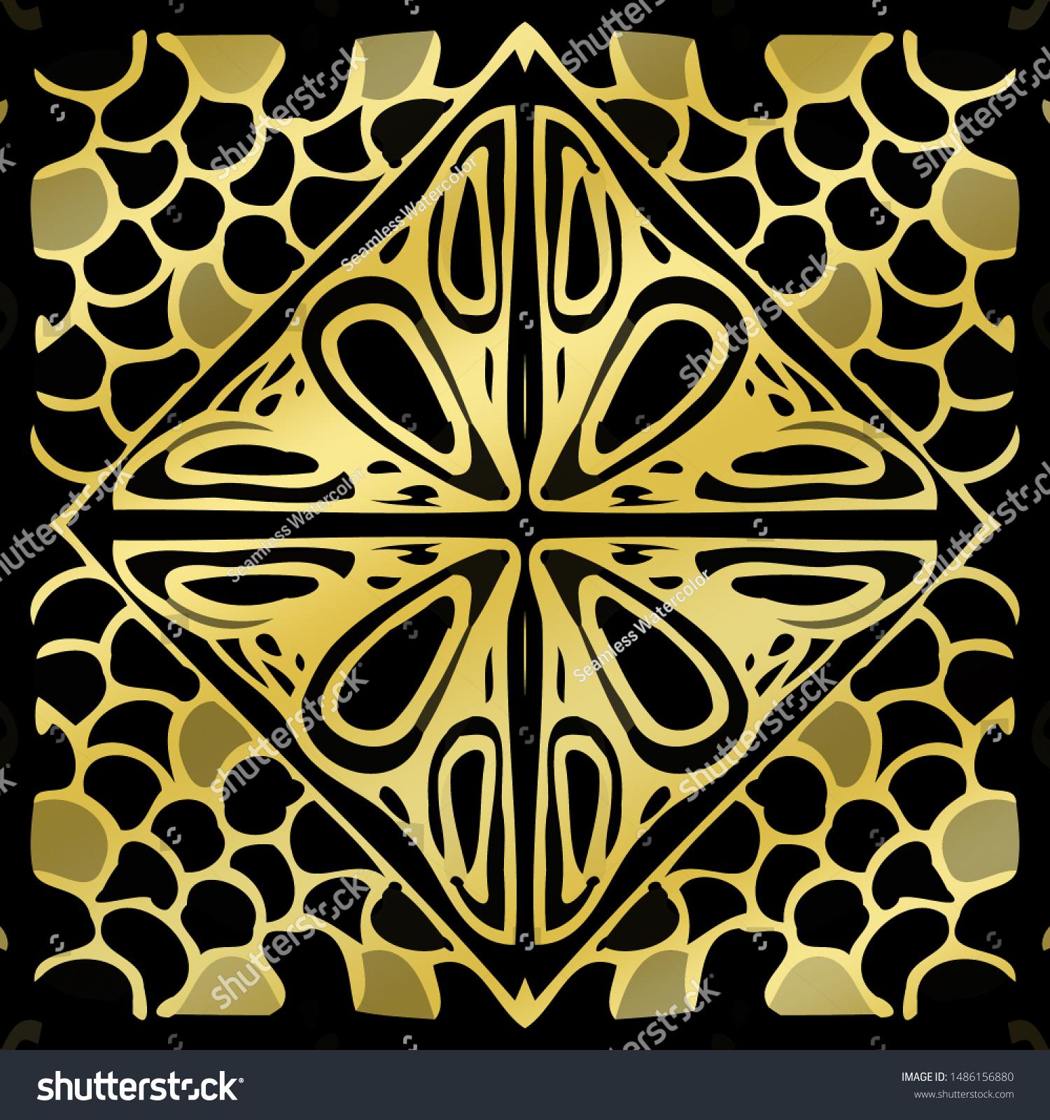 Enchanted Jazz Style Arabesque Square Borderless Stock Illustration 1486156880