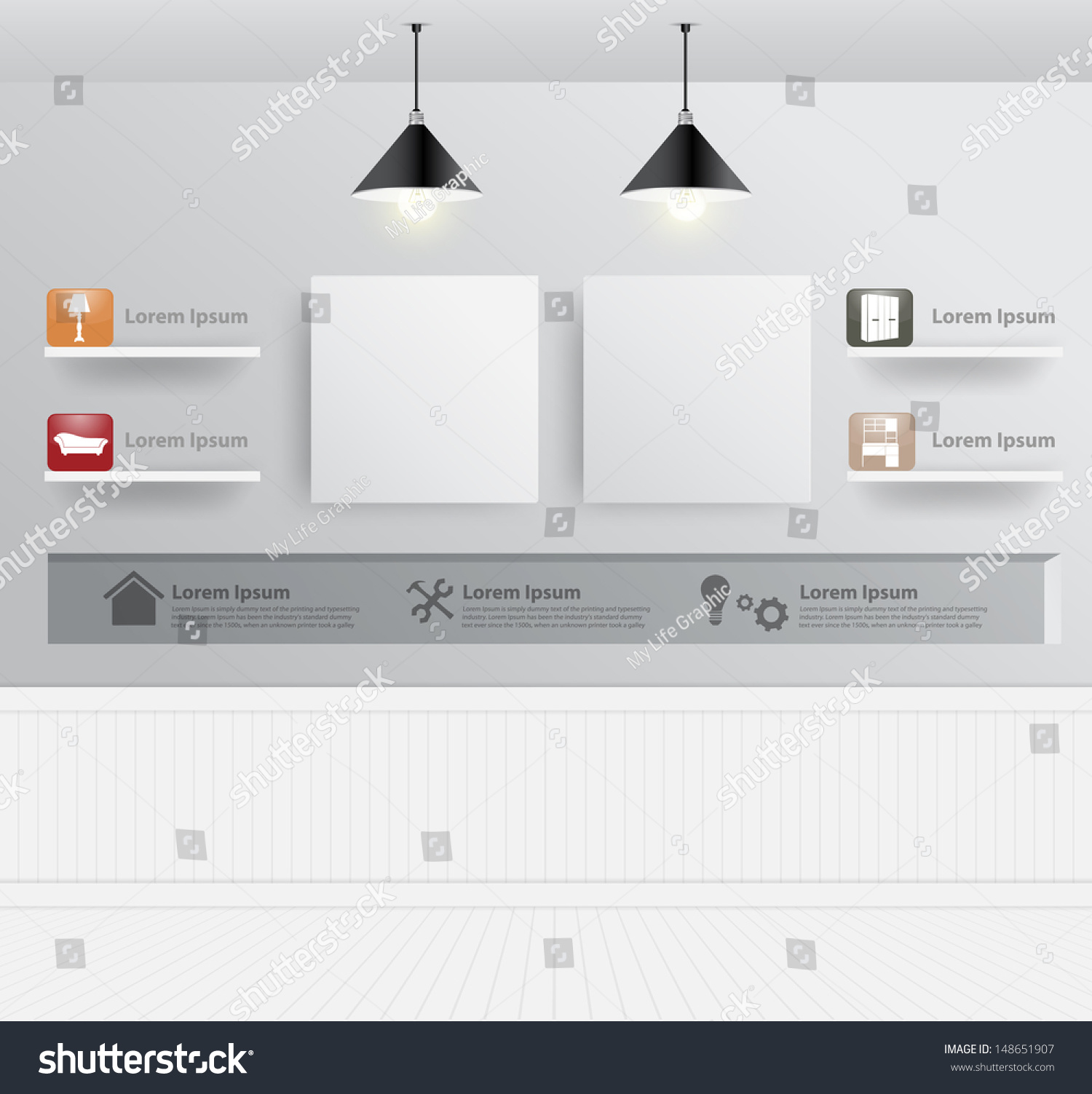 Interior Design With Home Furniture Icons Vector Illustration Modern Template