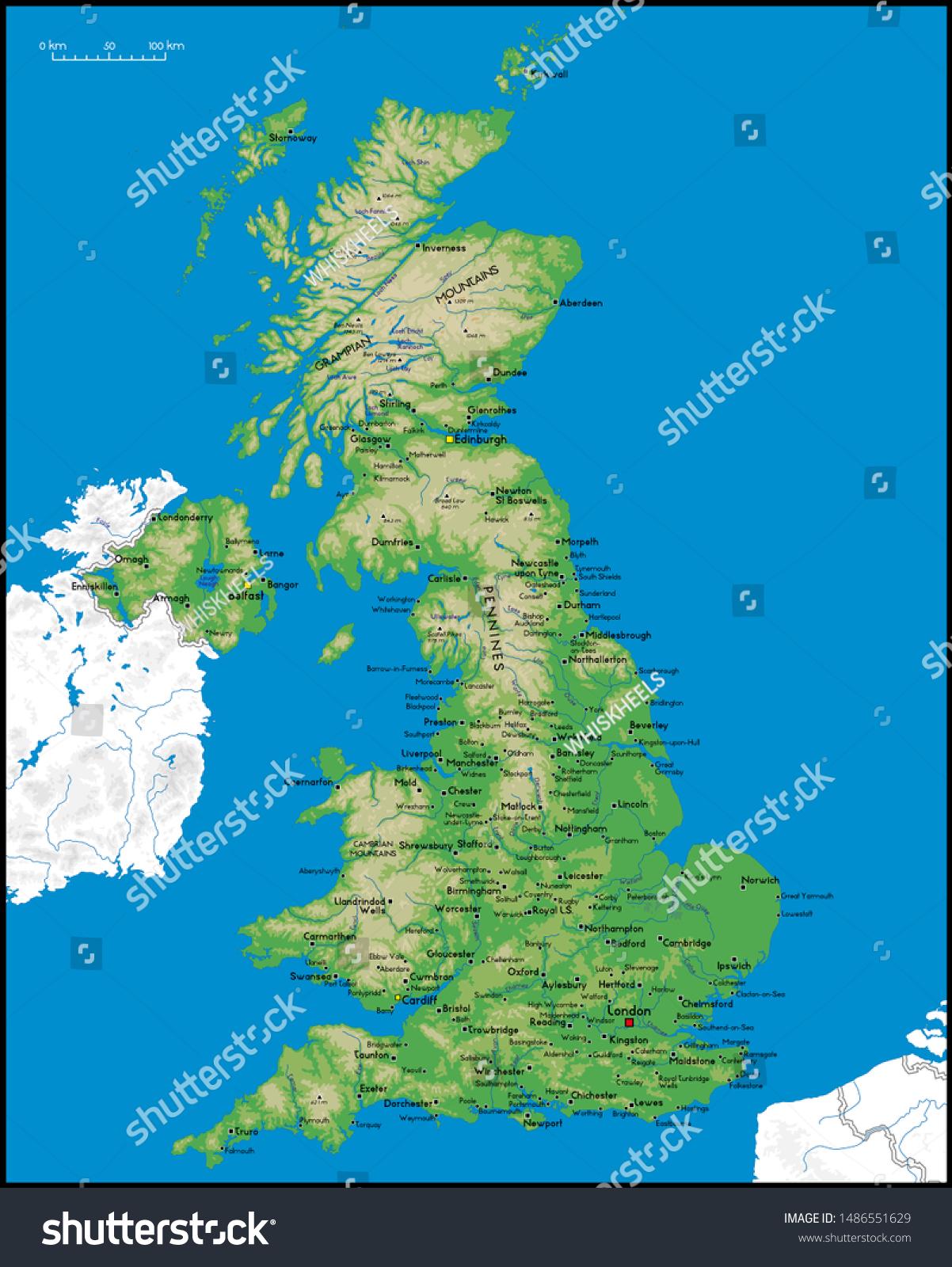 Picture of: Vector De Stock Libre De Regalias Sobre High Detailed United Kingdom Physical Map1486551629