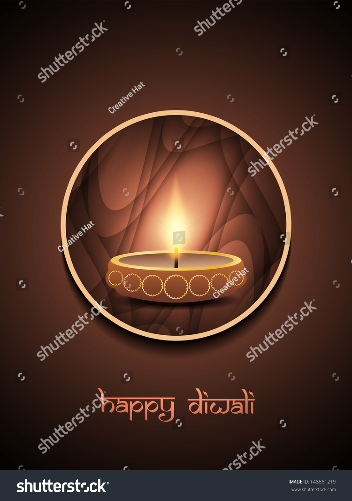 religious brown color background design for diwali festival with beautiful lamp in rounded frame