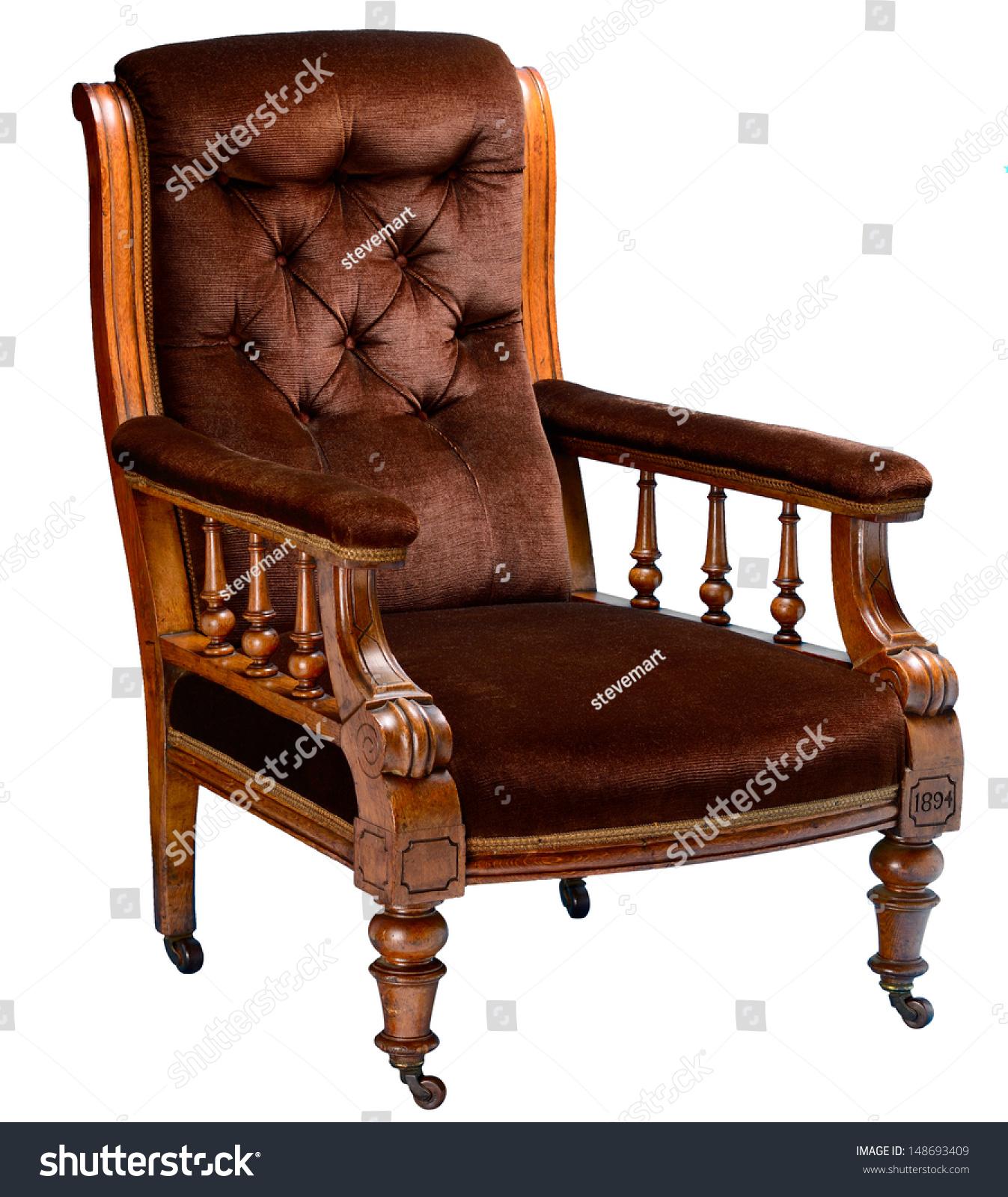 Antique Oak English Gentlemans Comfortable Armchair Stock