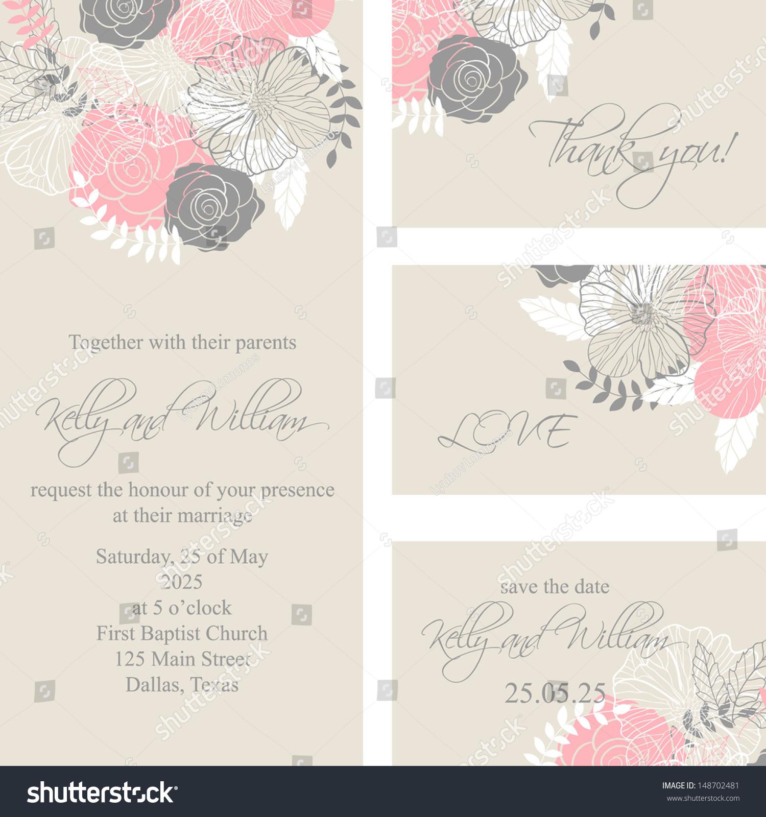 Wedding Invitation Thank You Card Save Stock Vector 2018 148702481
