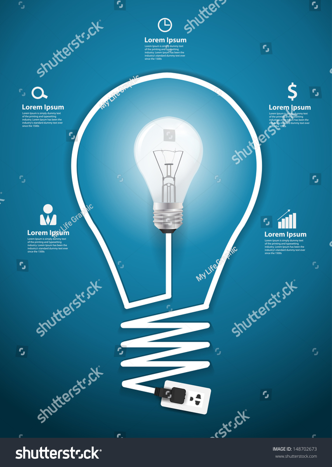 Creative Light Bulb Abstract Infographic Modern Stock Vector Diagram Of Incandescent Design Template Workflow Layout Step Up Options