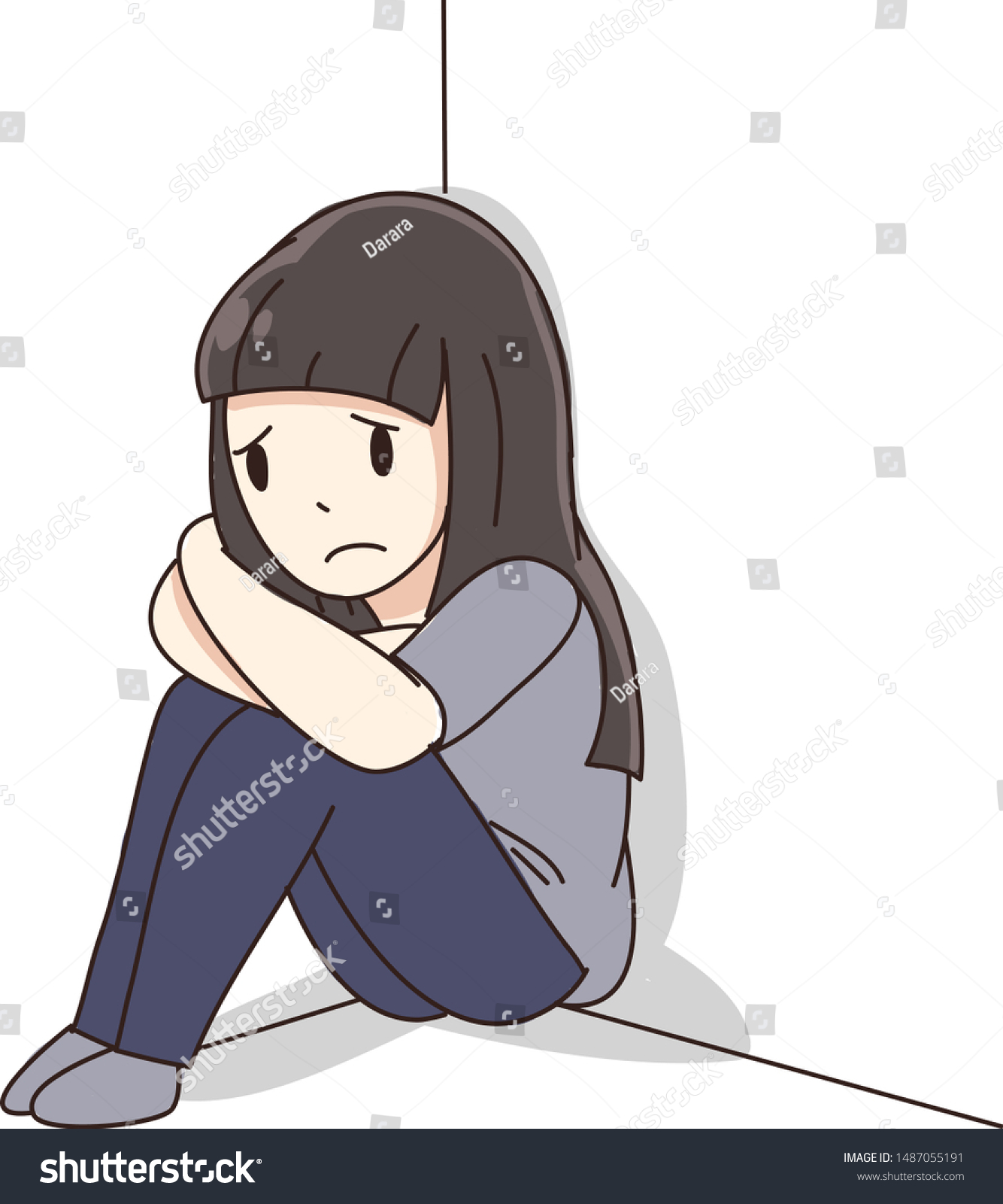 Young Depression Girl Feel Sad Cartoon Stock Vector Royalty Free 1487055191