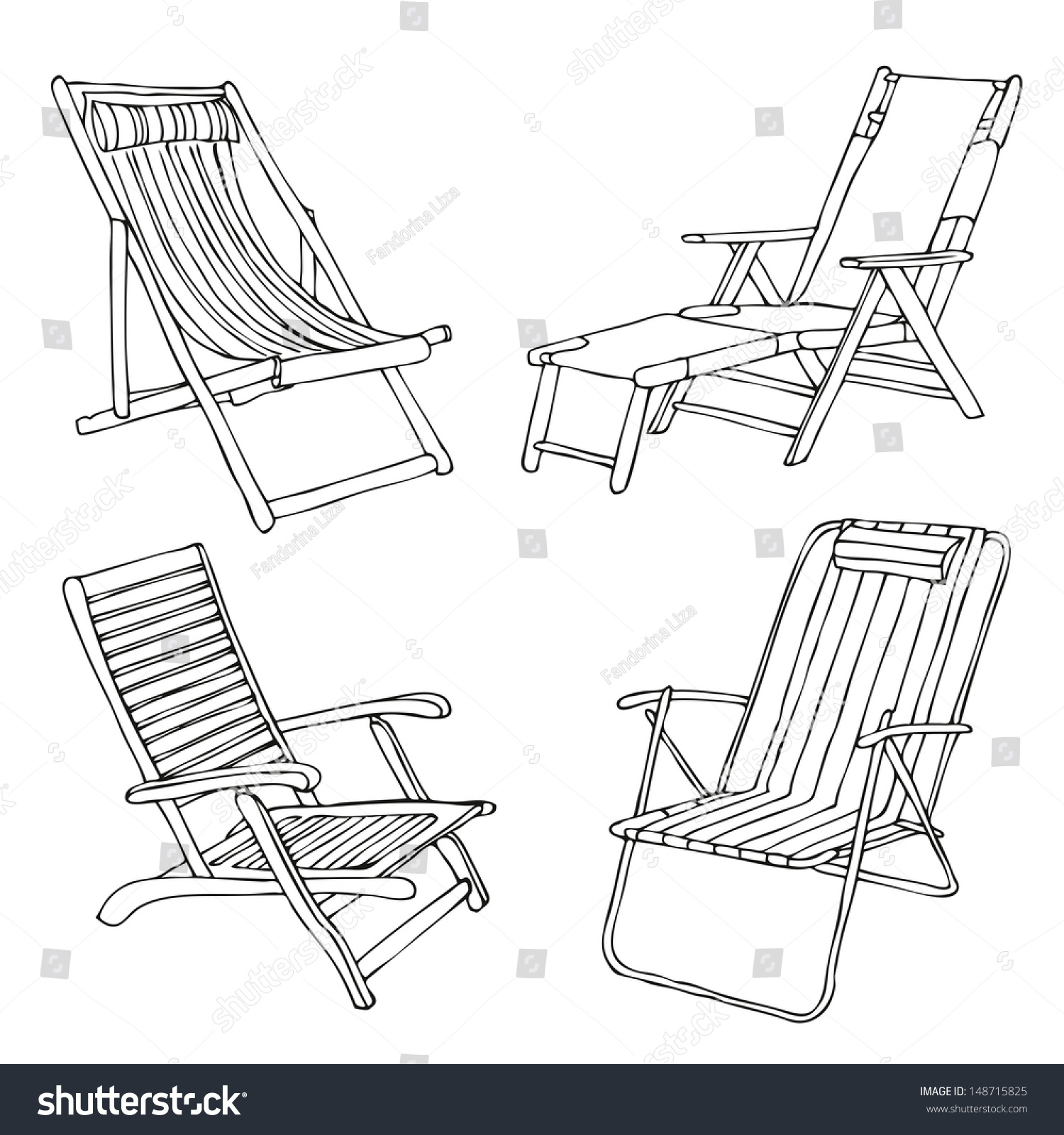 set hand drawn beach chairs stock vector royalty free 148715825
