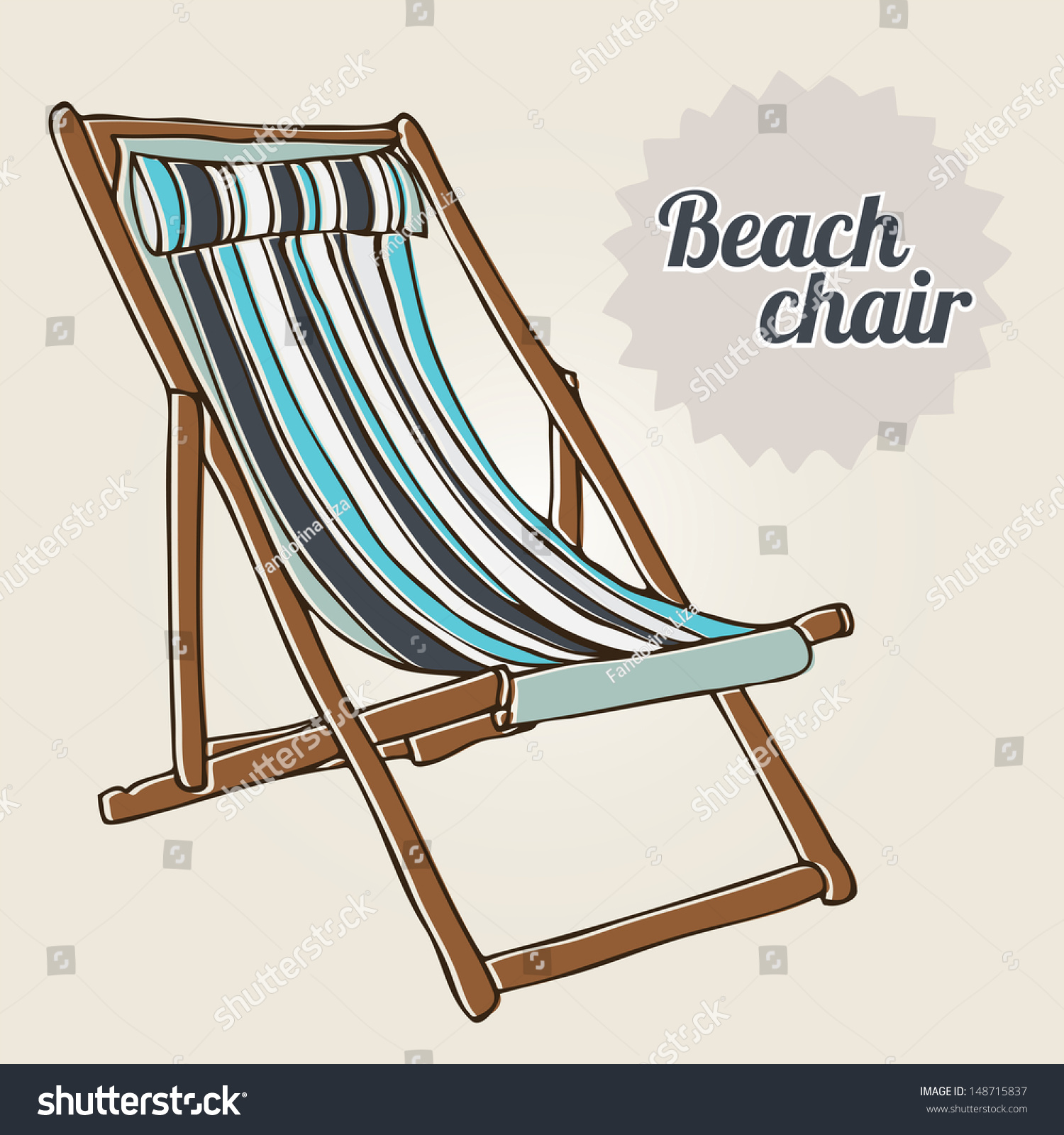 Travel Background Handdrawn Beach Chair Stock Vector