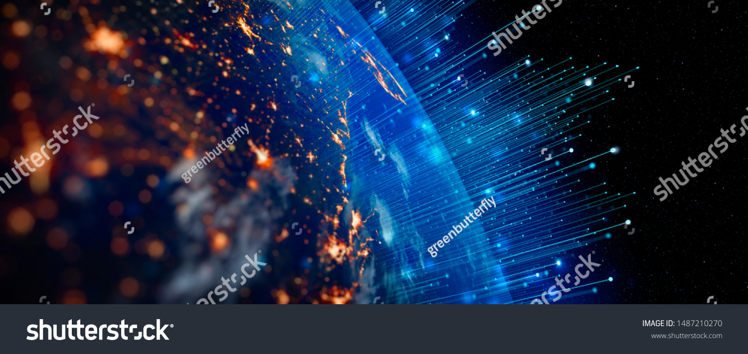 Communication technology for internet business. Global world network and telecommunication on earth cryptocurrency and blockchain and IoT. Elements of this image furnished by NASA #1487210270