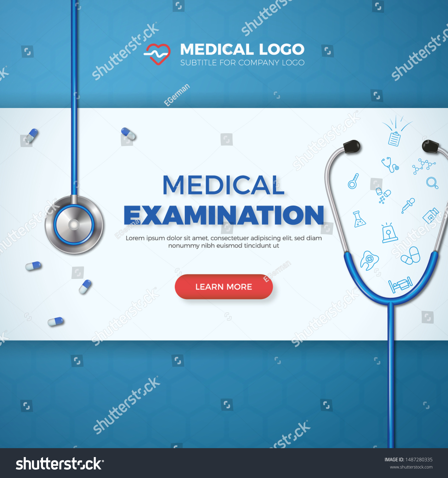 Medical Examination Card Healthcare Banner Flat Stock Vector Royalty Free 1487280335