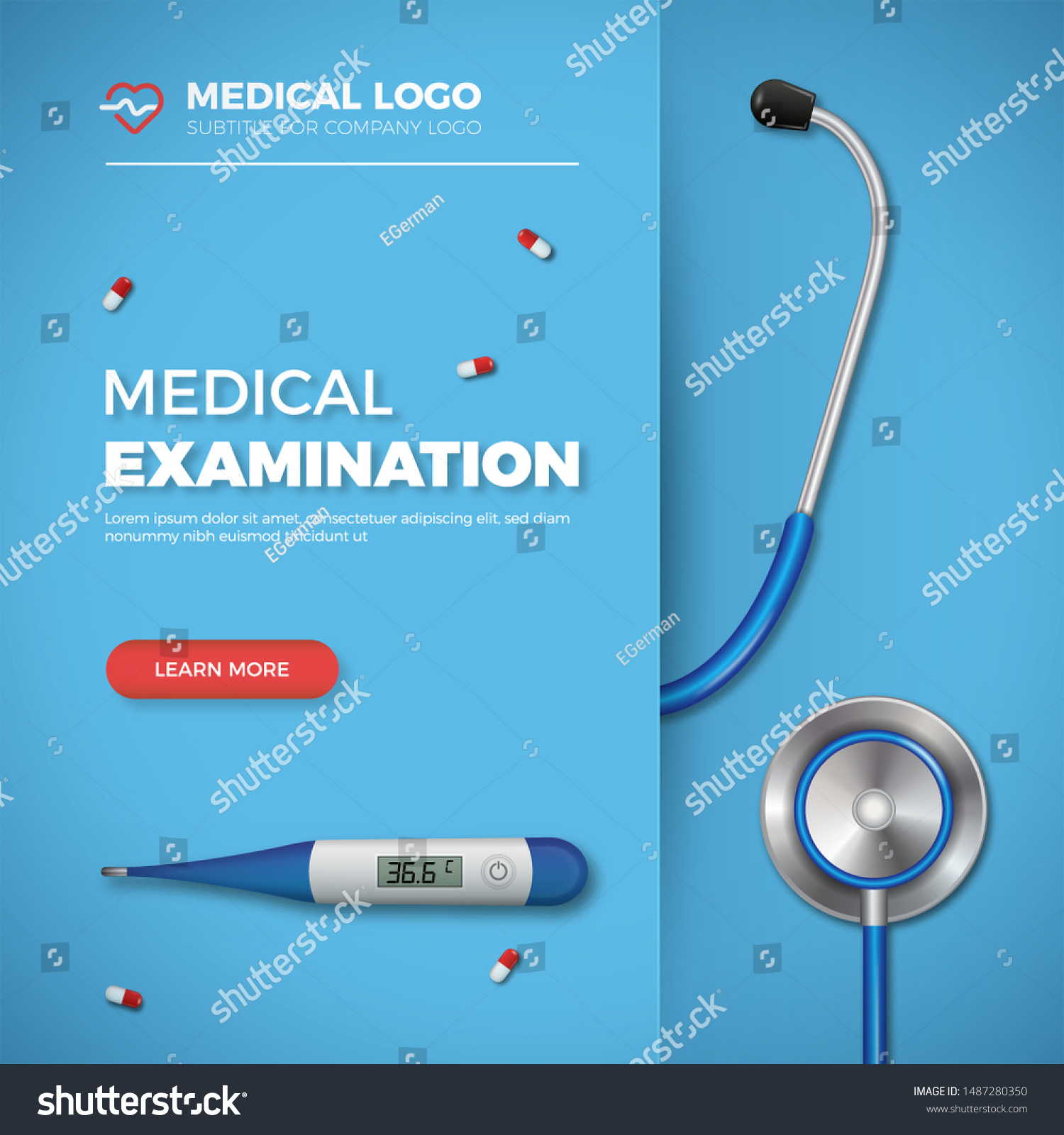 Medical Examination Card Healthcare Banner Medical Stock Vector Royalty Free 1487280350